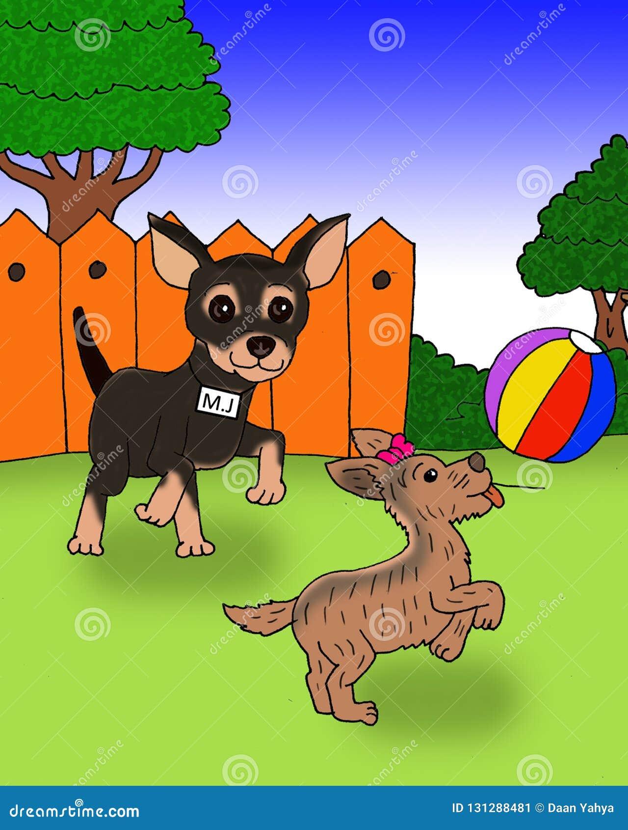 Dwa śliczny pies bawić się balową kreskówkę