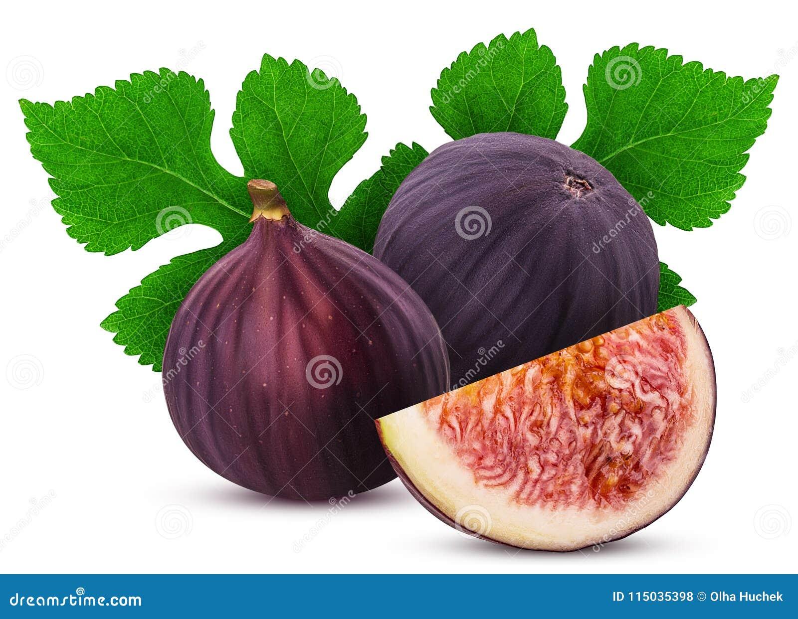 Dwa świeżej figi owoc i plasterek z liściem