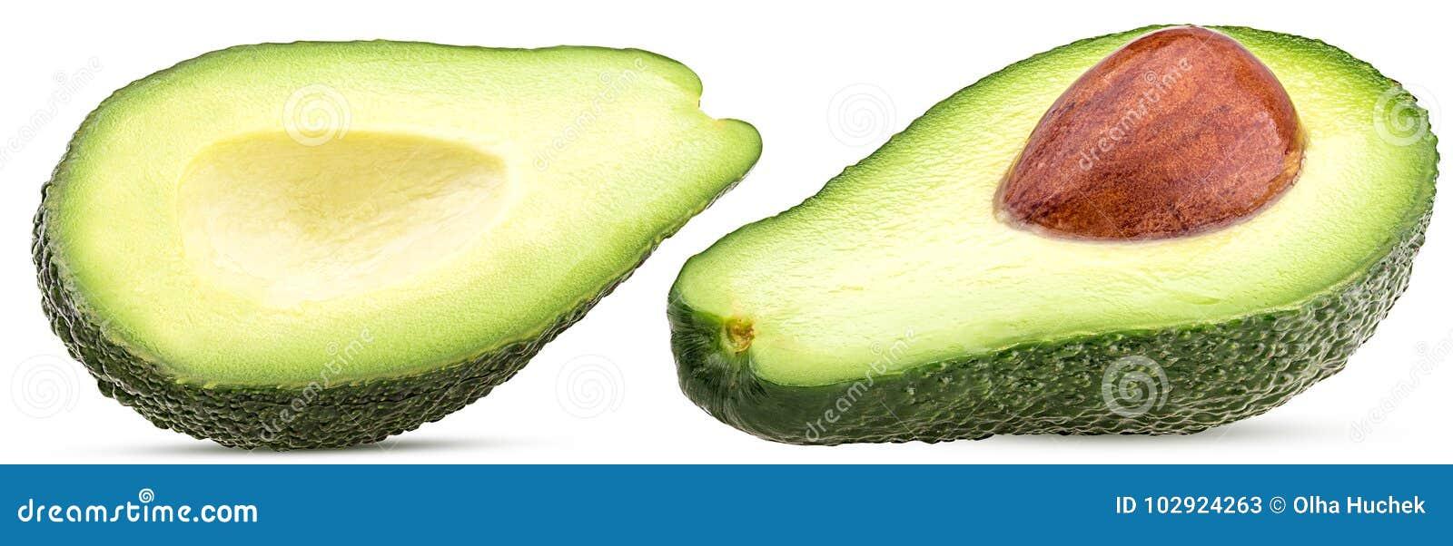 Dwa avocado cięcie w połówce z jamami, dołkowatymi