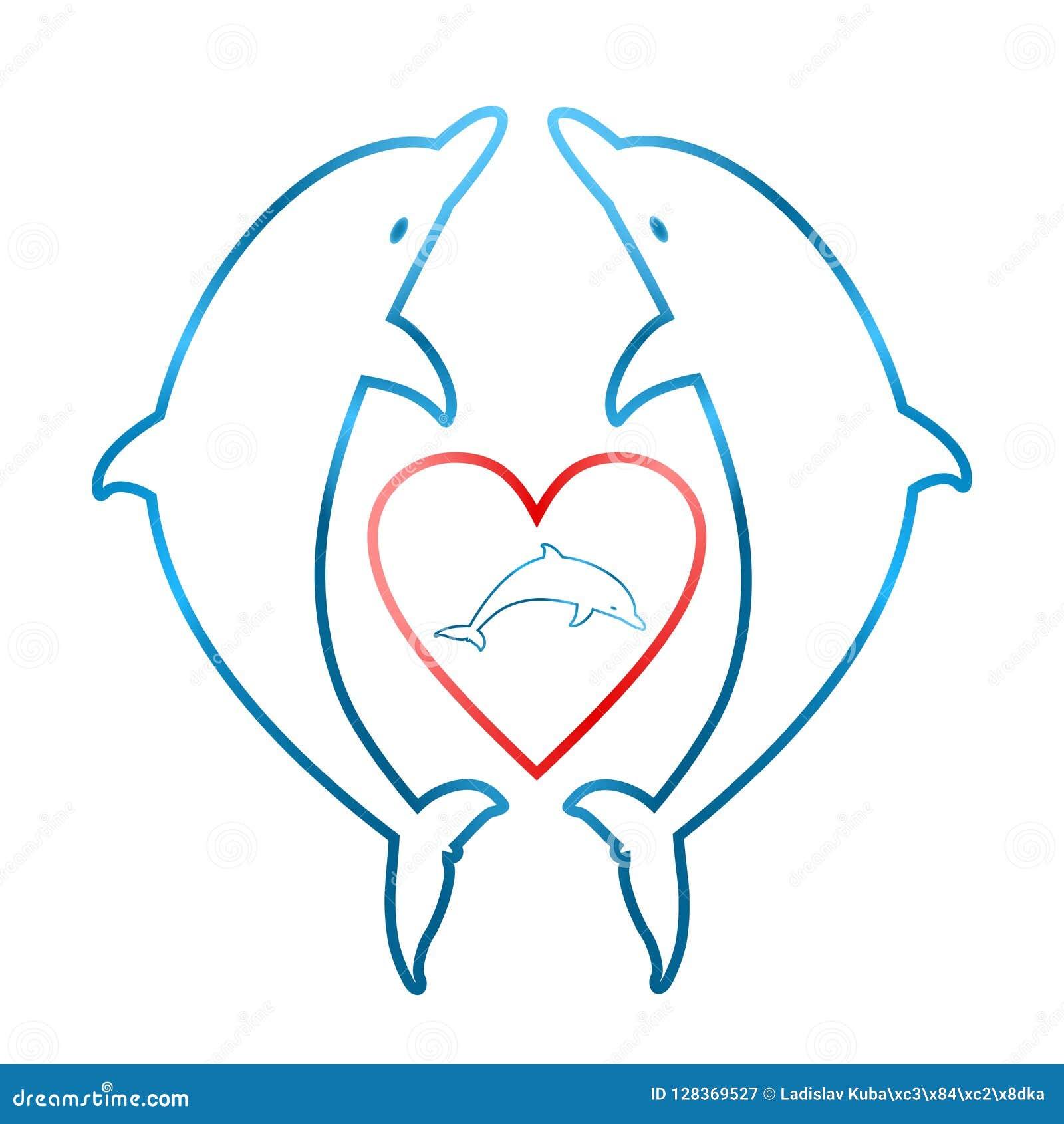 Dwa błękitnego delfinu stawia czoło each inny z czerwonym sercem z małym błękitnym delfinem wśrodku serca na białym tle