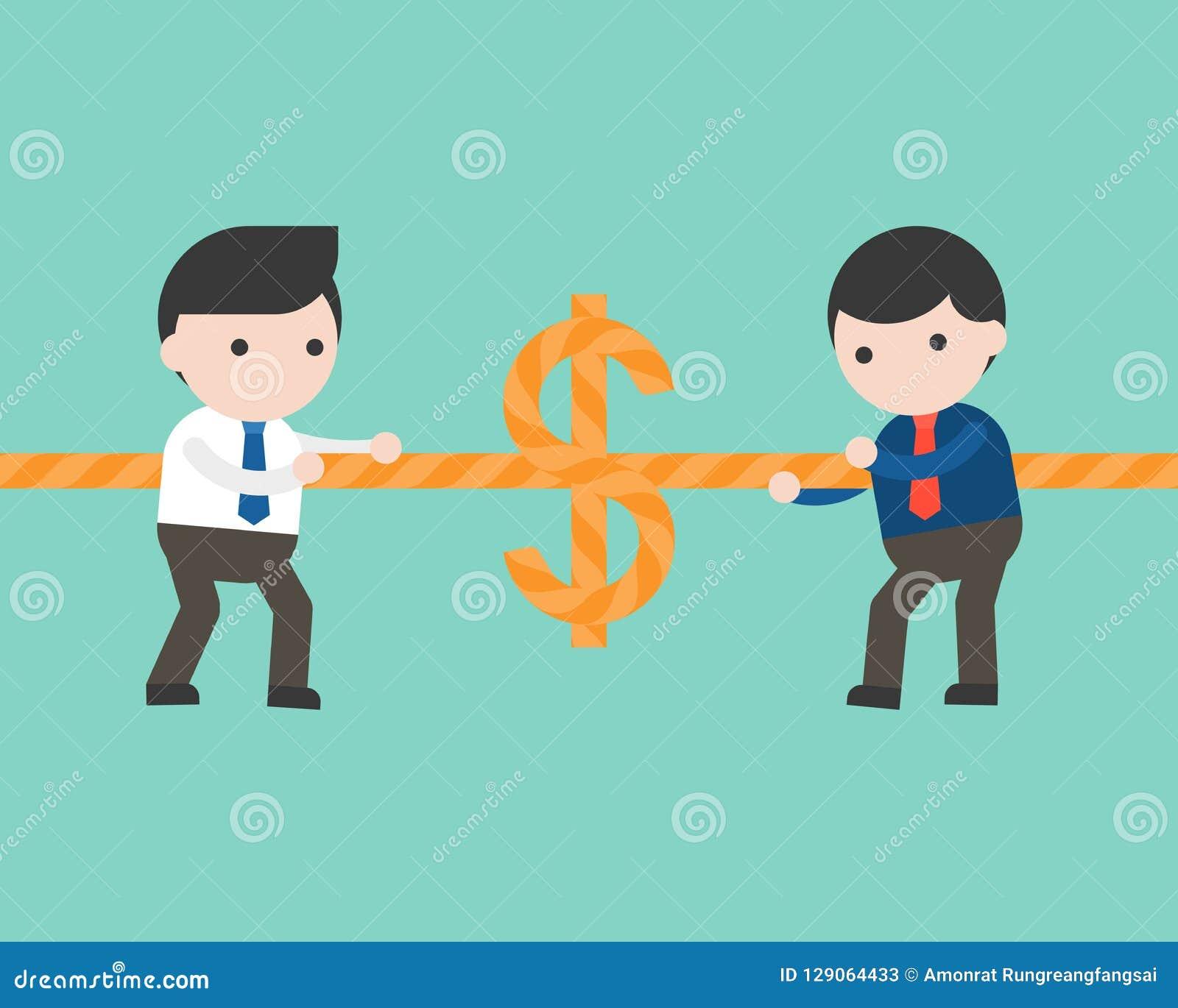 Dwa biznesmena ciągnie arkanę, zażarta rywalizacja pieniądze gra