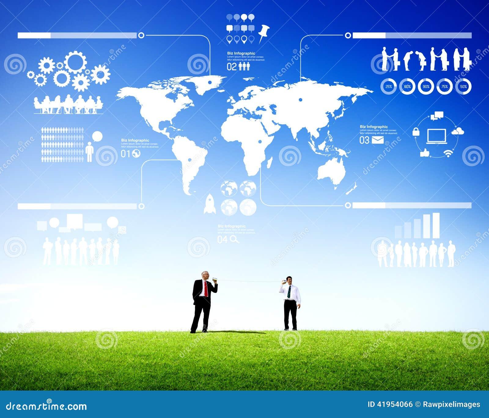 Dwa biznesmena Komunikuje Plenerowego Infographic