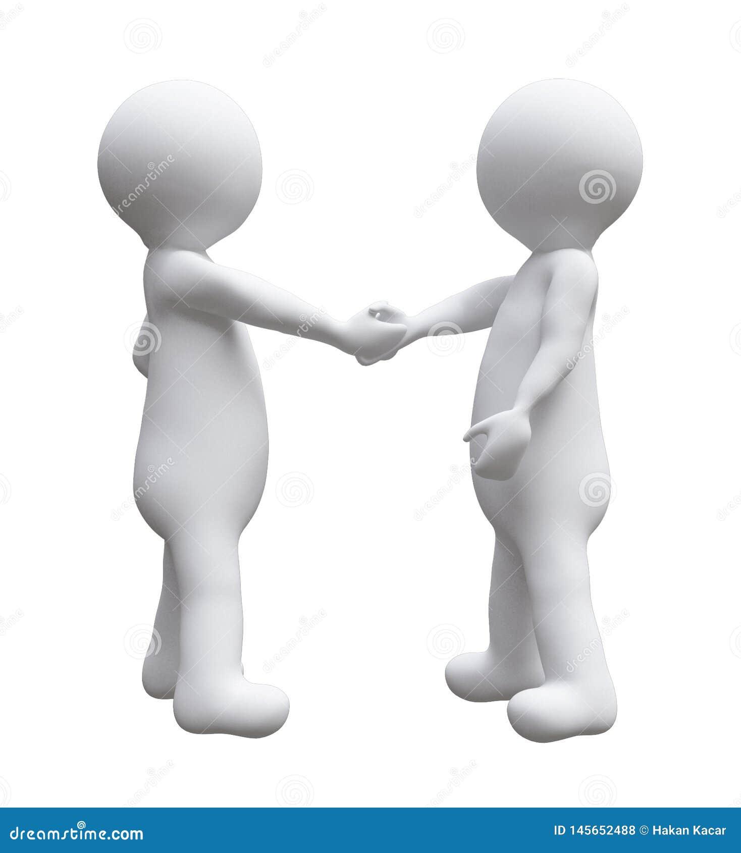 Dwa biznesowego mężczyzny trząść ręk ilustracyjny d małych ludzi odizolowywali białego tło