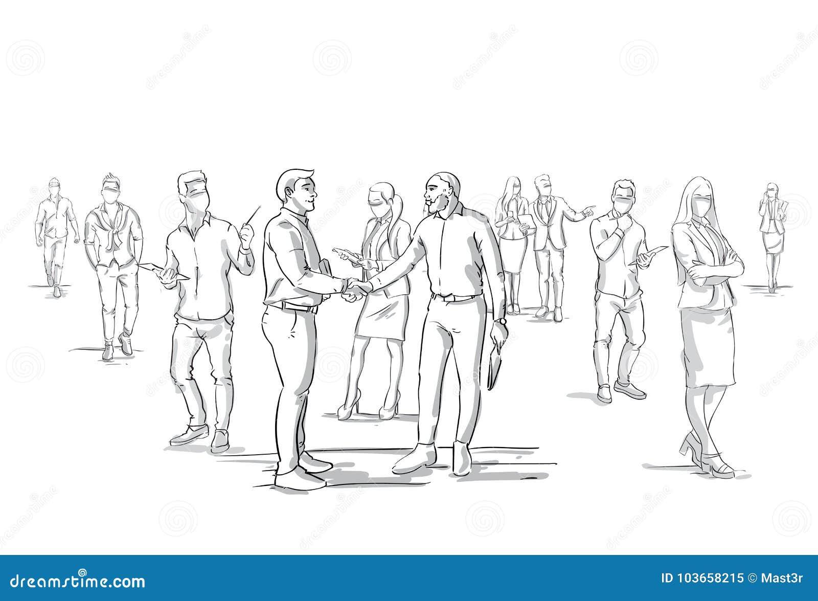 Dwa Biznesowych mężczyzna uścisku dłoni sylwetka Nad biznesmen grupy tłumem, biznesmena szefa chwiania ręki