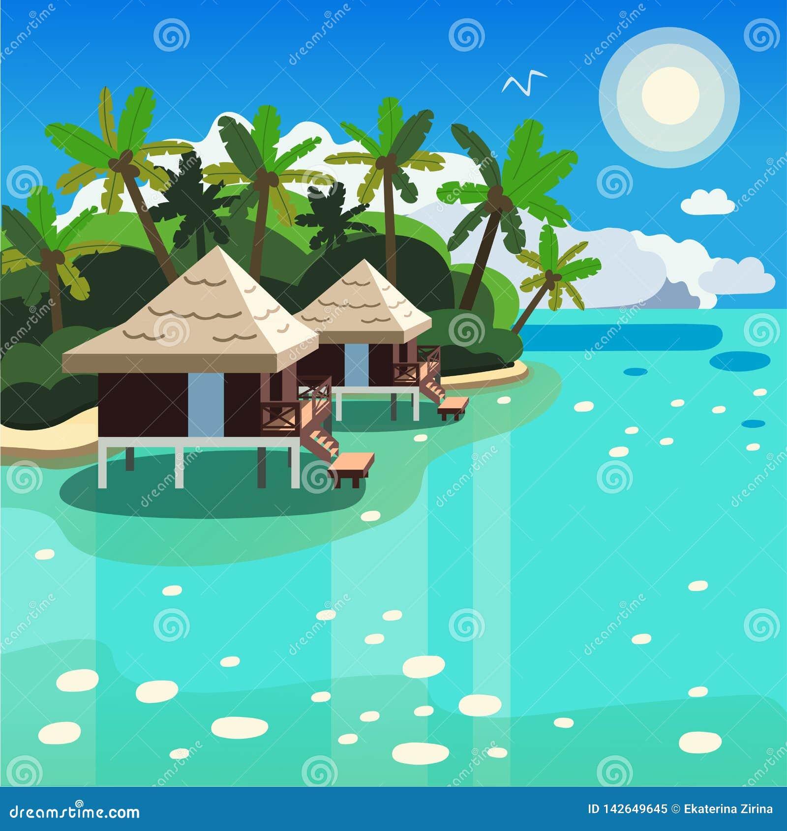 Dwa bungalowu wśród drzewek palmowych na seashore wektoru wizerunku