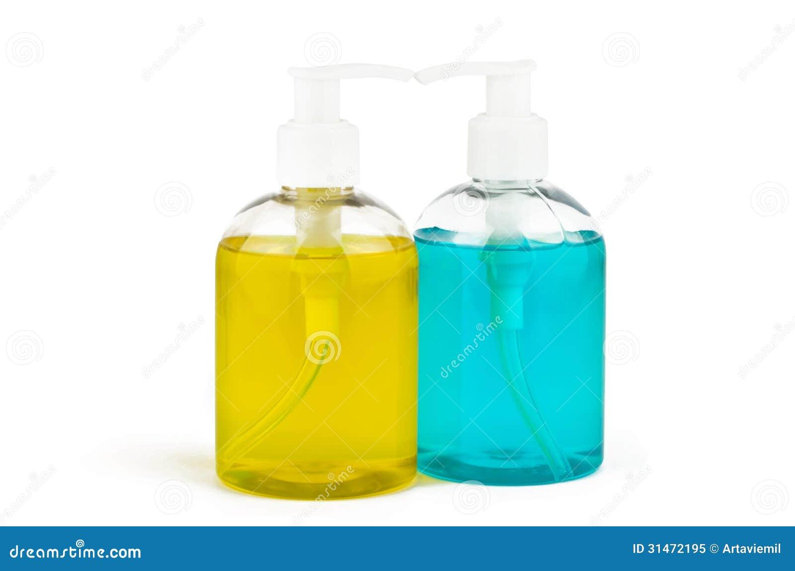 Dwa buteleczki ciekły mydło