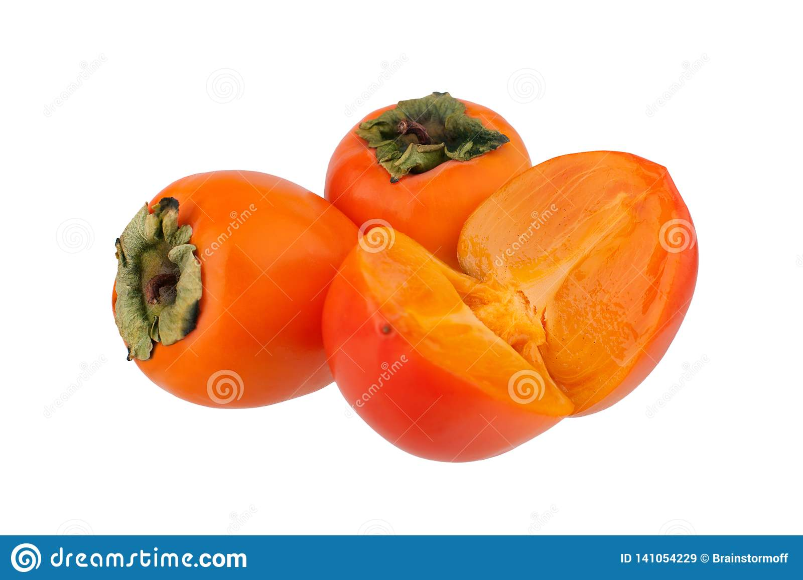Dwa całego pomarańczowego persimmons hebanów, owoc kaki lub odizolowywaliśmy zbliżenie