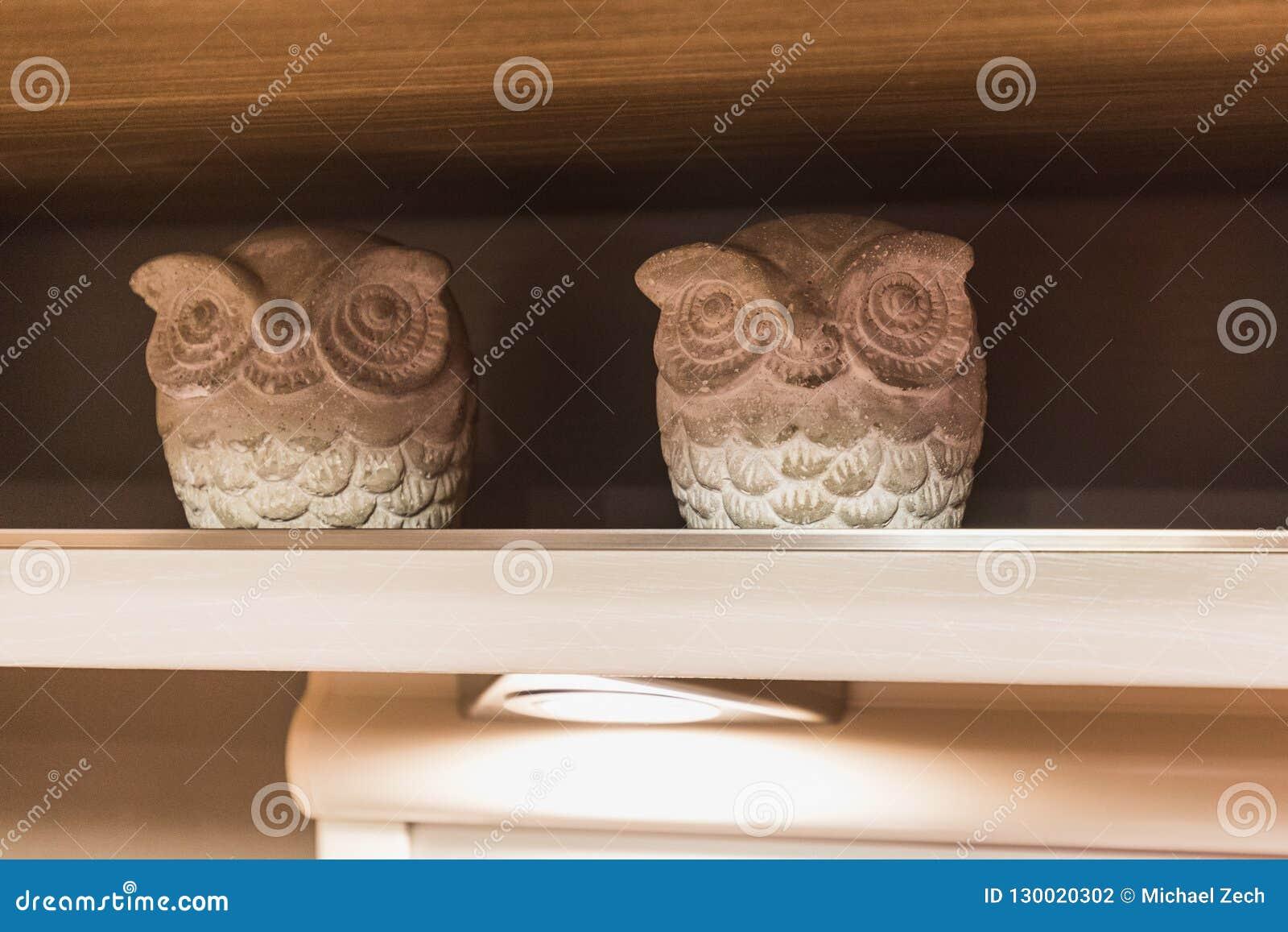 Dwa dekoracyjnej białej sowy postaci w szelfowy wśrodku ca lub królewskim