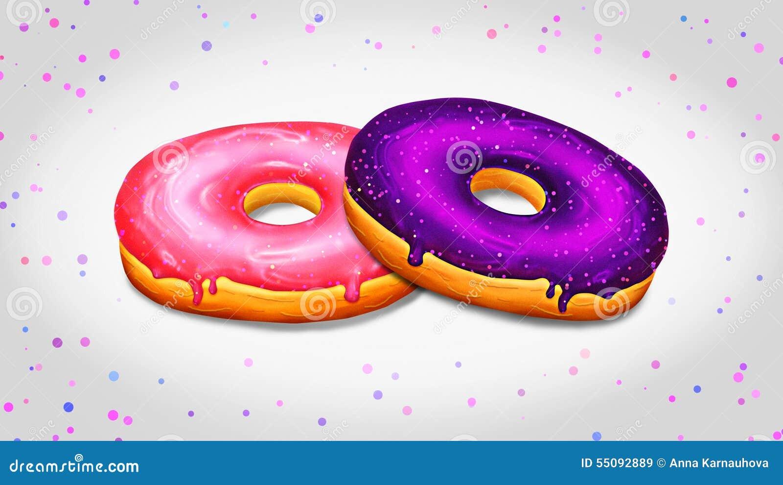 Dwa donuts ilustracyjnego z menchii i purpur glazerunkiem
