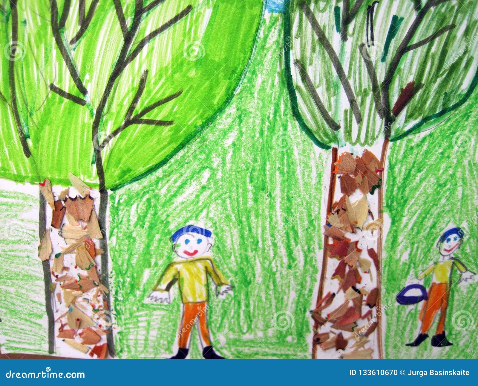 Dwa drzewa i dwa dziecka malujących na papierze, Lithuania