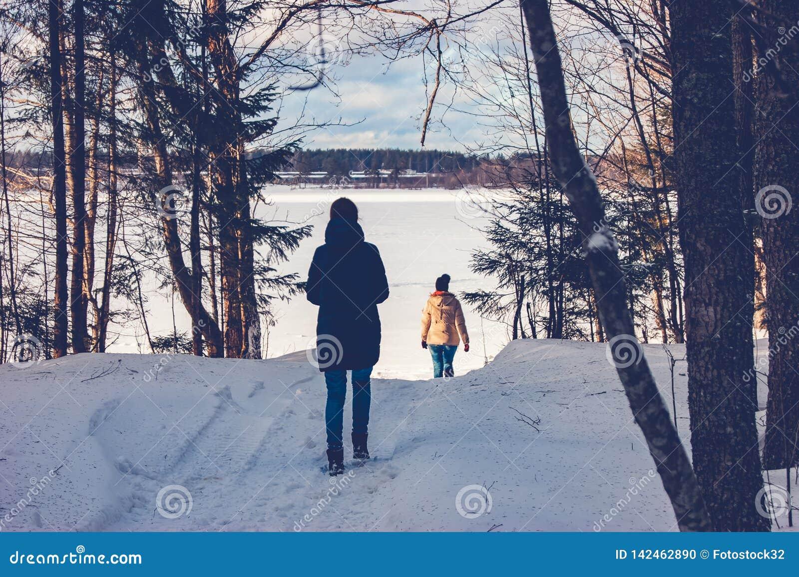 Dwa dziewczyny chodzą przez zima lasu jezioro
