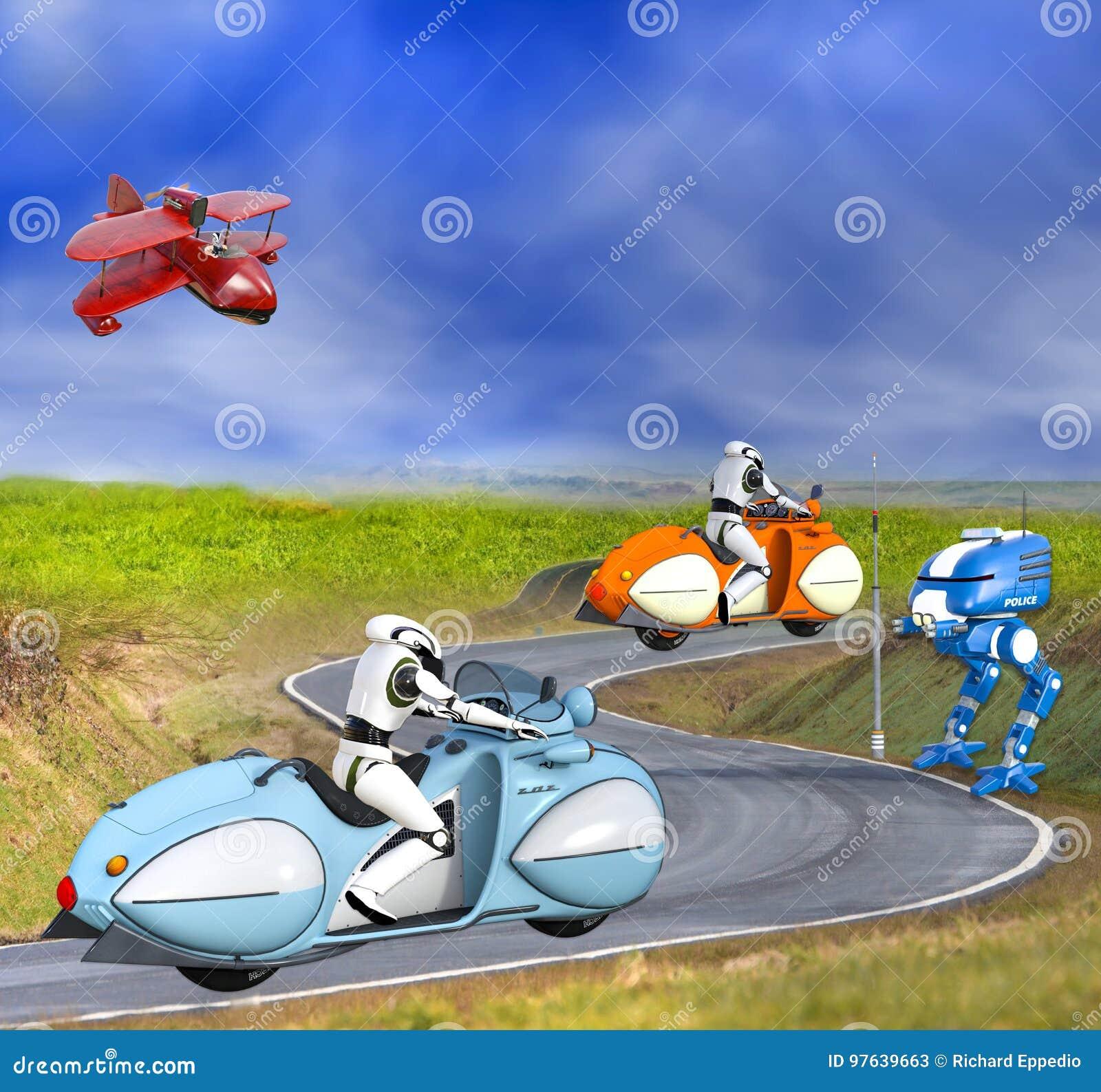Dwa Futurystycznego cyborga na motocyklach