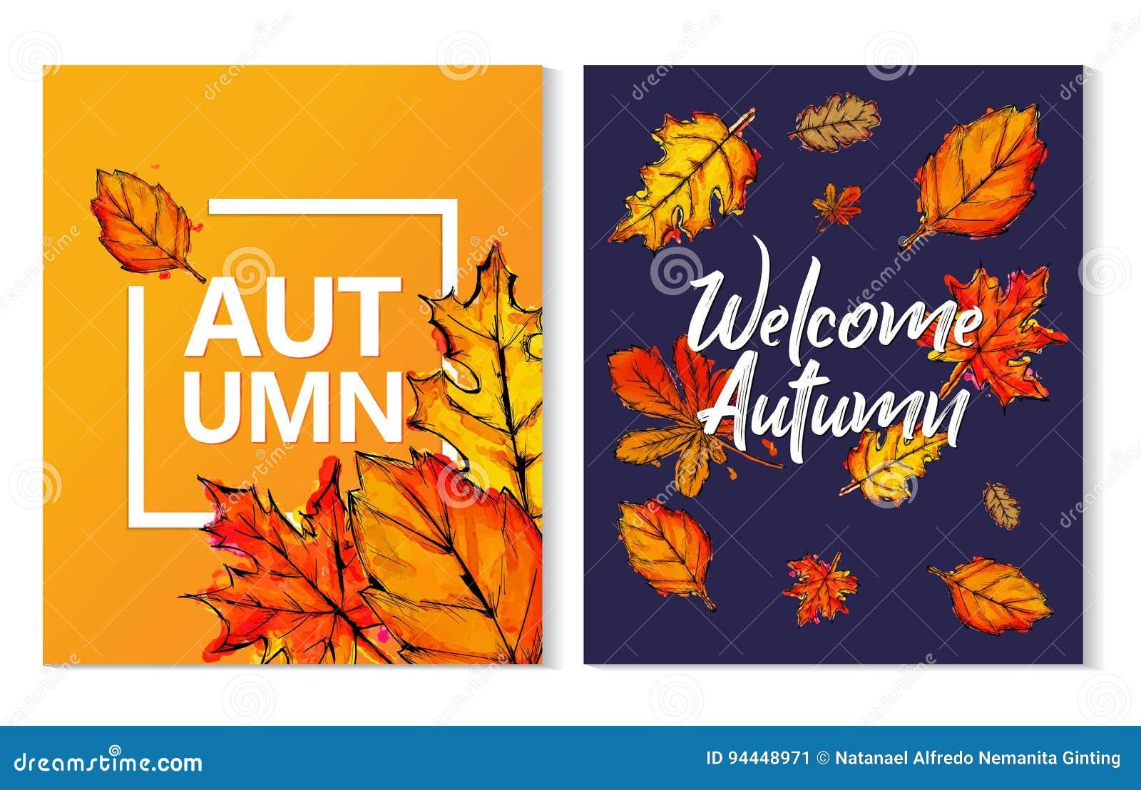 Dwa jesieni farby akwareli Typograficzny spadek Opuszcza plakat