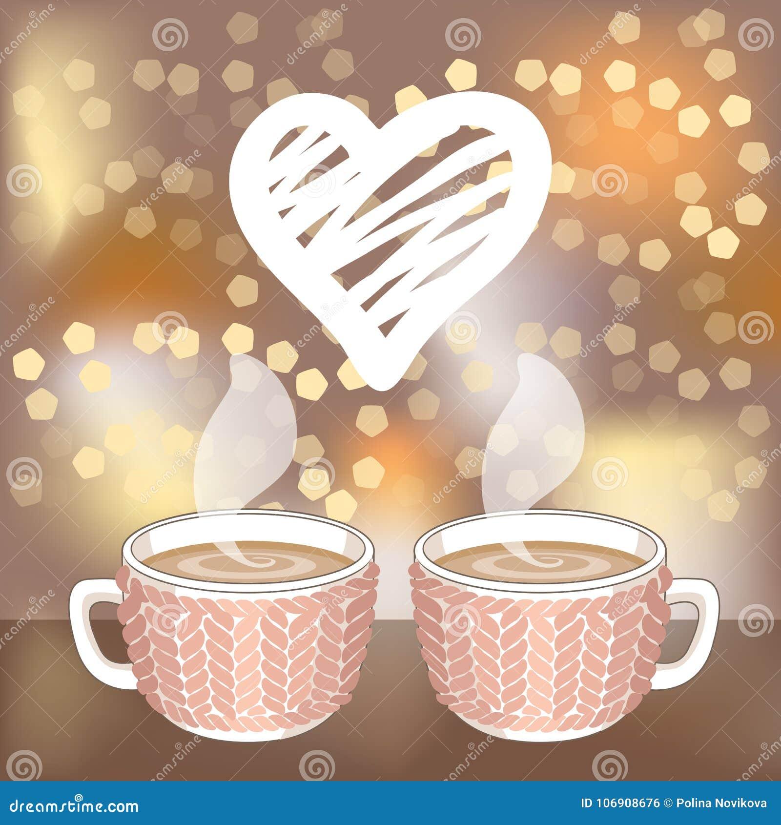 Dwa kakaowy, filiżanki lub biały kluje się serce