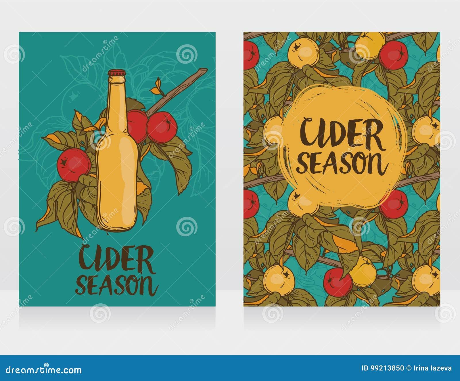 Dwa karty dla cydru przyprawiają z piękną gałąź jabłoń i butelka cydr
