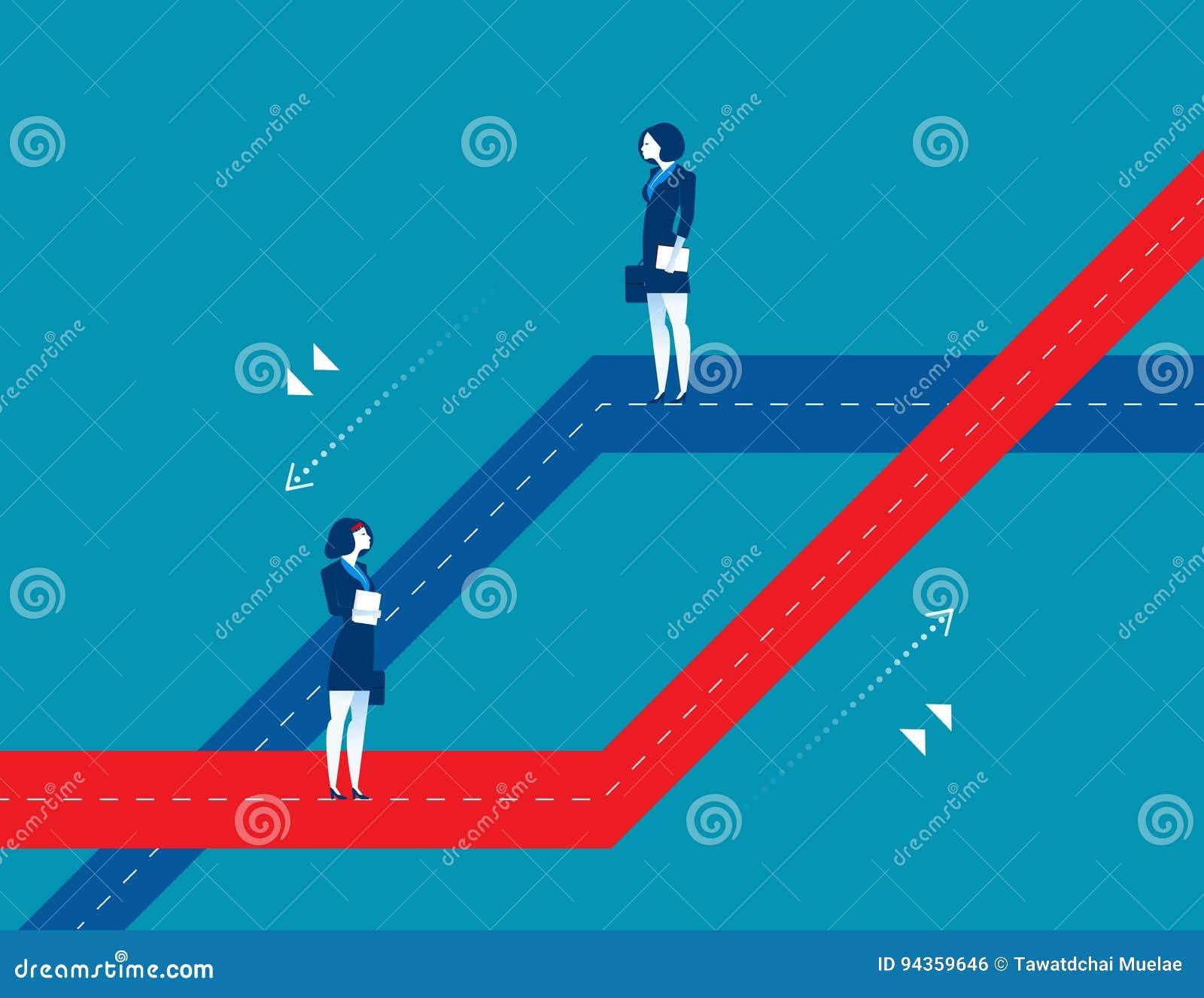 Dwa kobiety stoi różne biznesowe ścieżki Pojęcie biznes