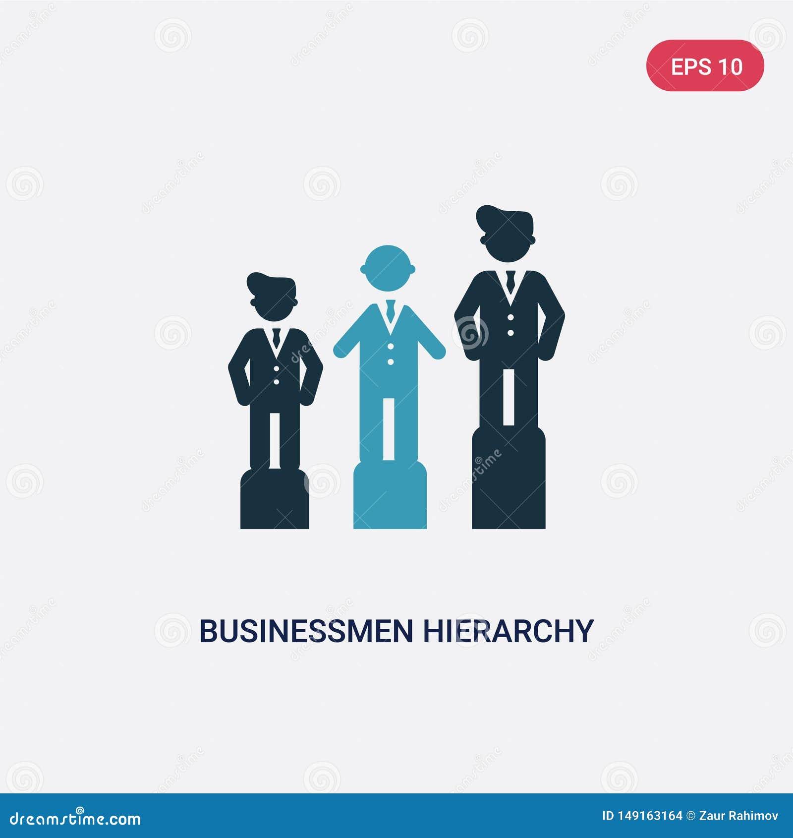 Dwa kolorów biznesmenów hierarchii wektorowa ikona od ludzi pojęć odosobneni błękitni biznesmeni używają hierarchia wektoru znaka