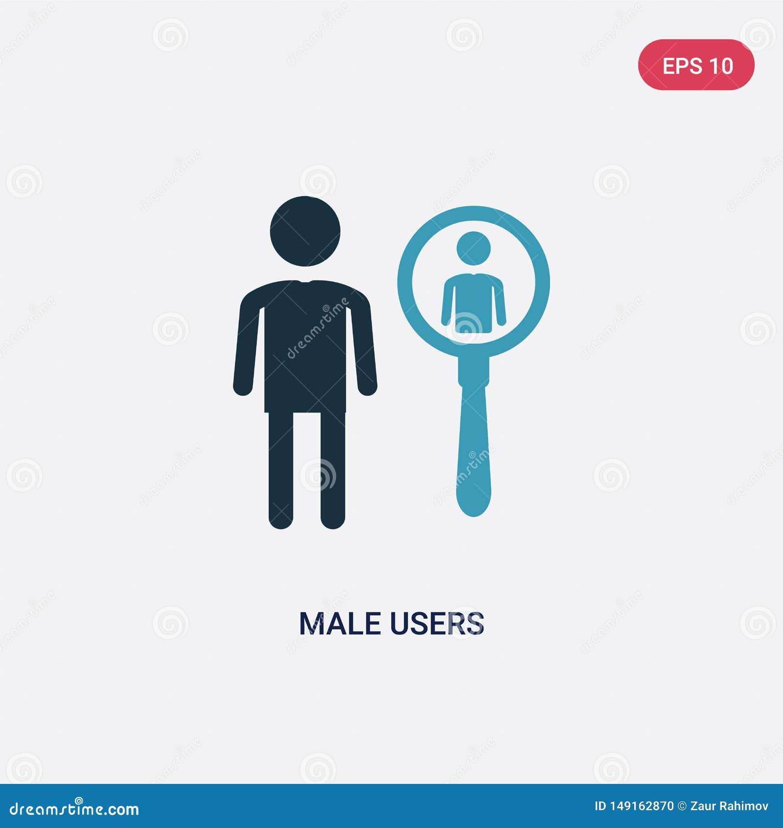 Dwa kolorów męskich użytkowników wektorowa ikona od ludzi pojęć odosobneni błękitni męscy użytkownicy używają dla sieci, wisząca
