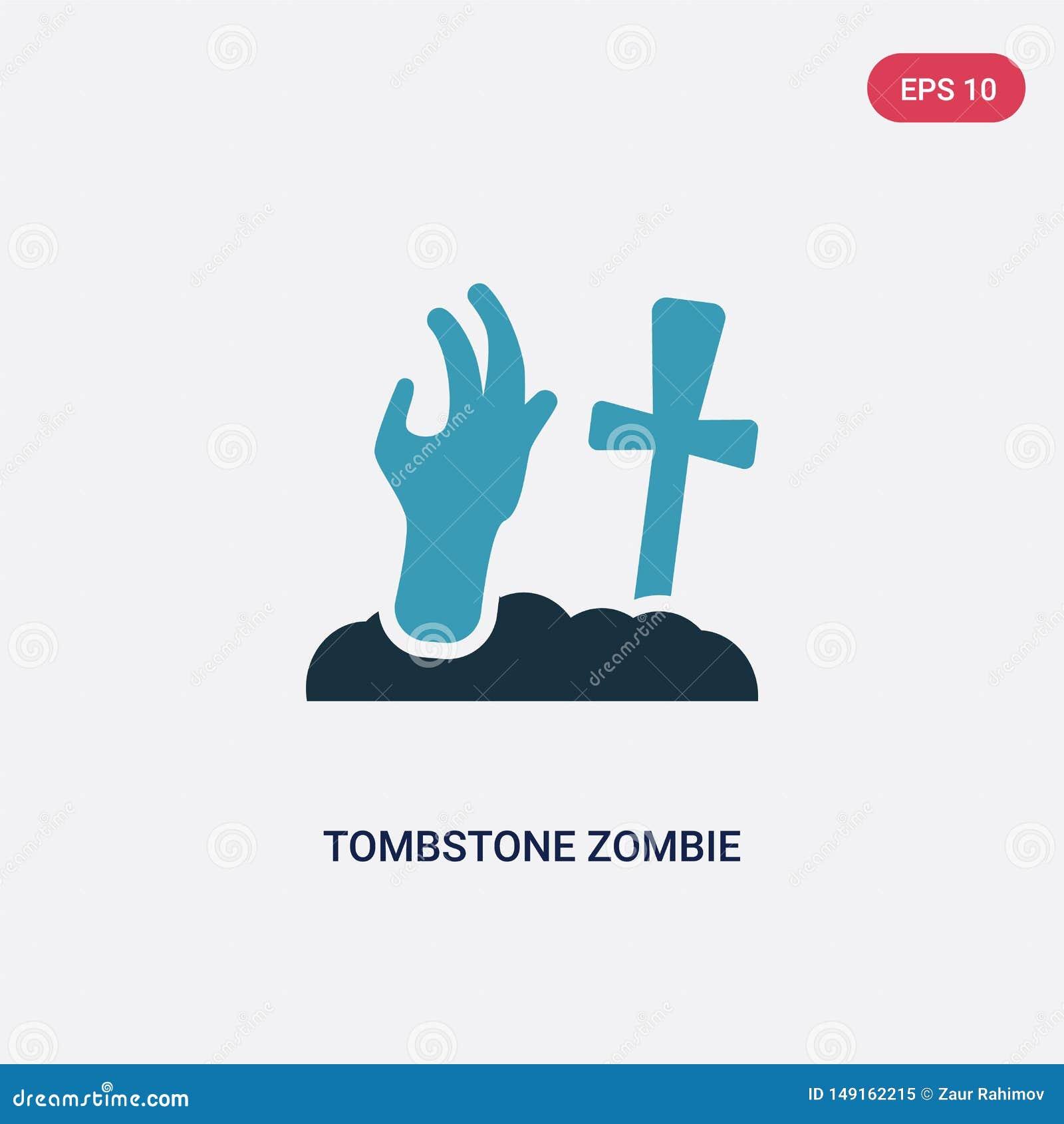 Dwa kolorów nagrobku żywego trupu ręki wektorowa ikona od innego pojęcia odosobniony błękitny nagrobku żywego trupu ręki wektoru