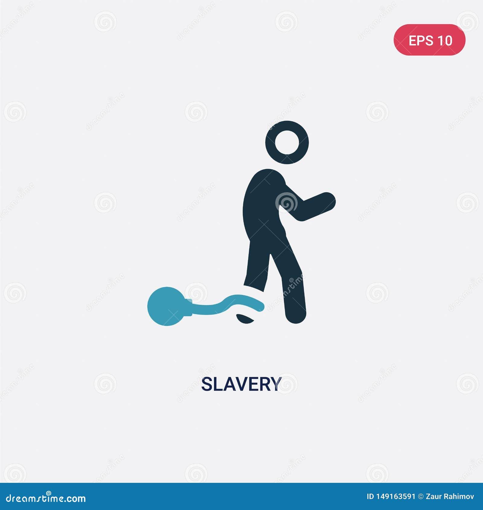 Dwa kolorów niewolnictwa wektorowa ikona od politycznego pojęcia odosobniony błękitny niewolnictwo wektoru znaka symbol może być
