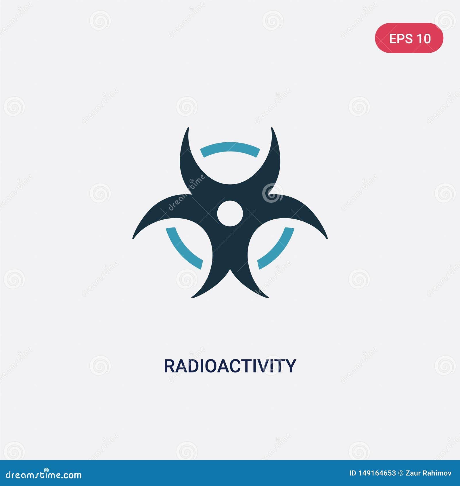 Dwa kolorów promieniotwórczości wektorowa ikona od nauki pojęcia odosobniony błękitny promieniotwórczość wektoru znaka symbol moż