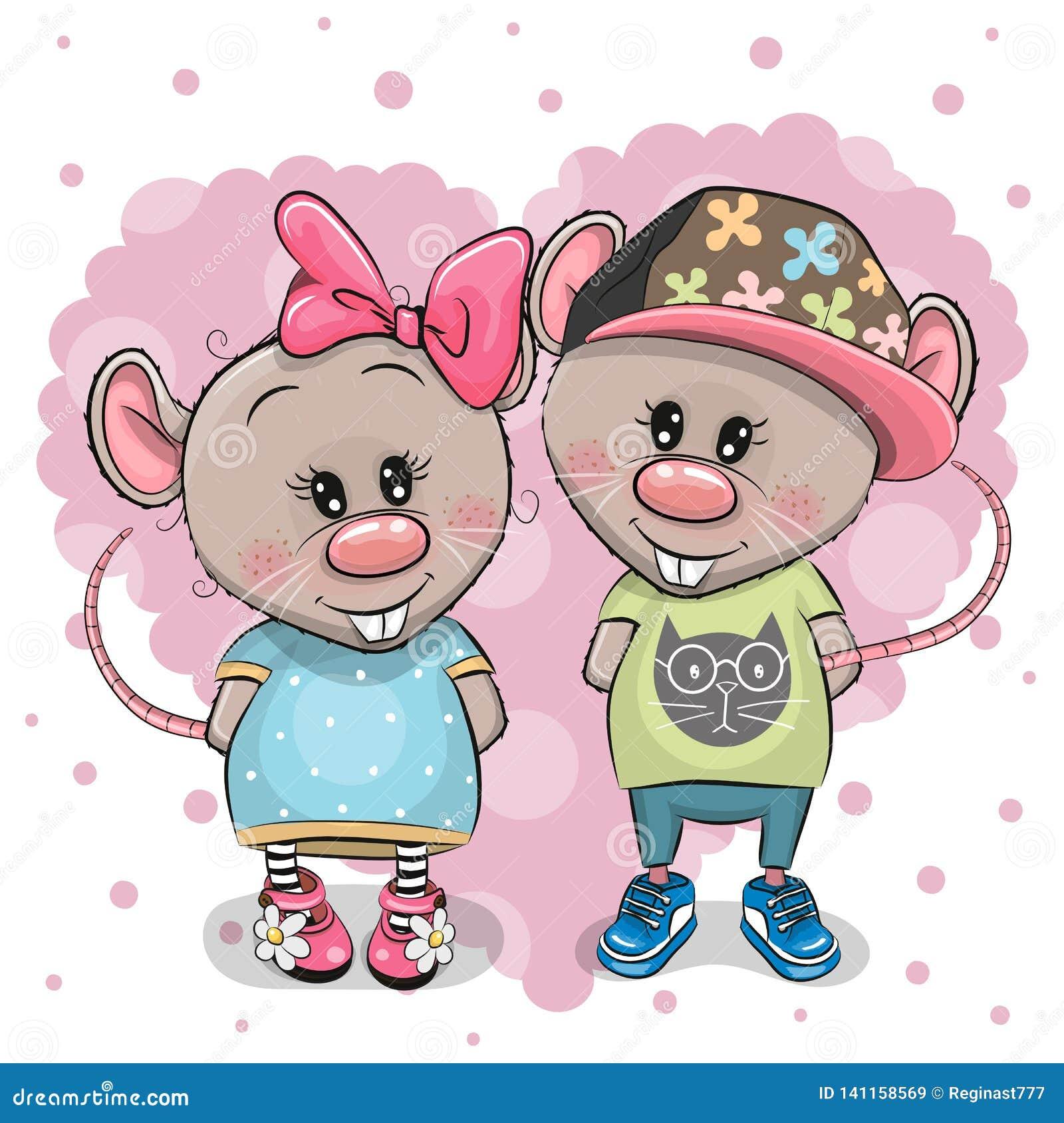 Dwa kreskówka szczura na kierowym tle