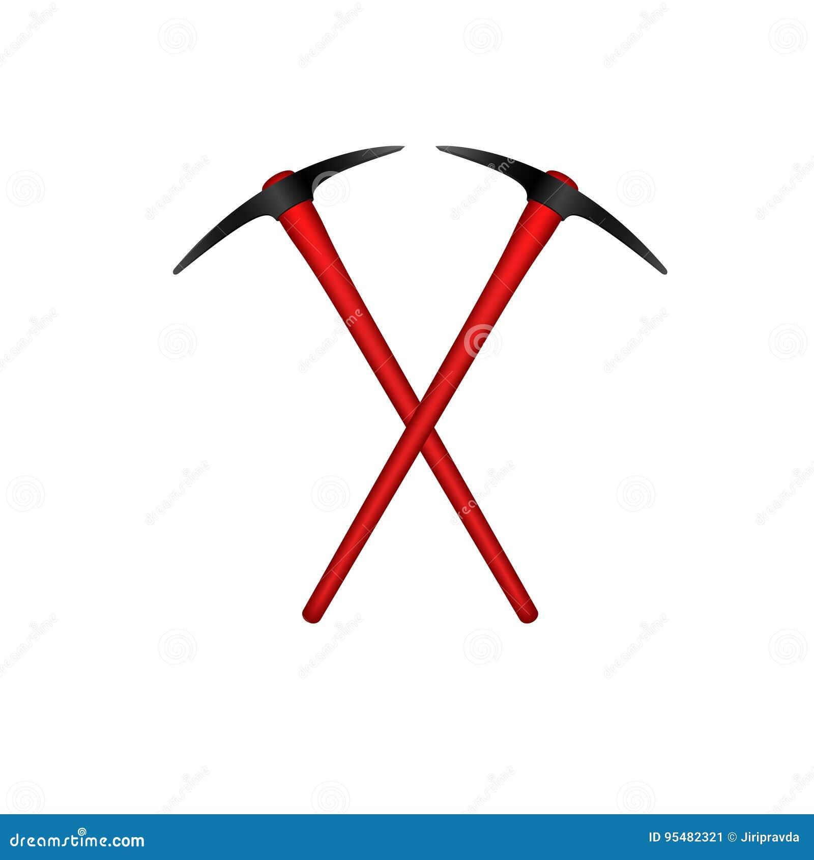 Dwa krzyżującego mattocks w czarnym projekcie z czerwoną rękojeścią
