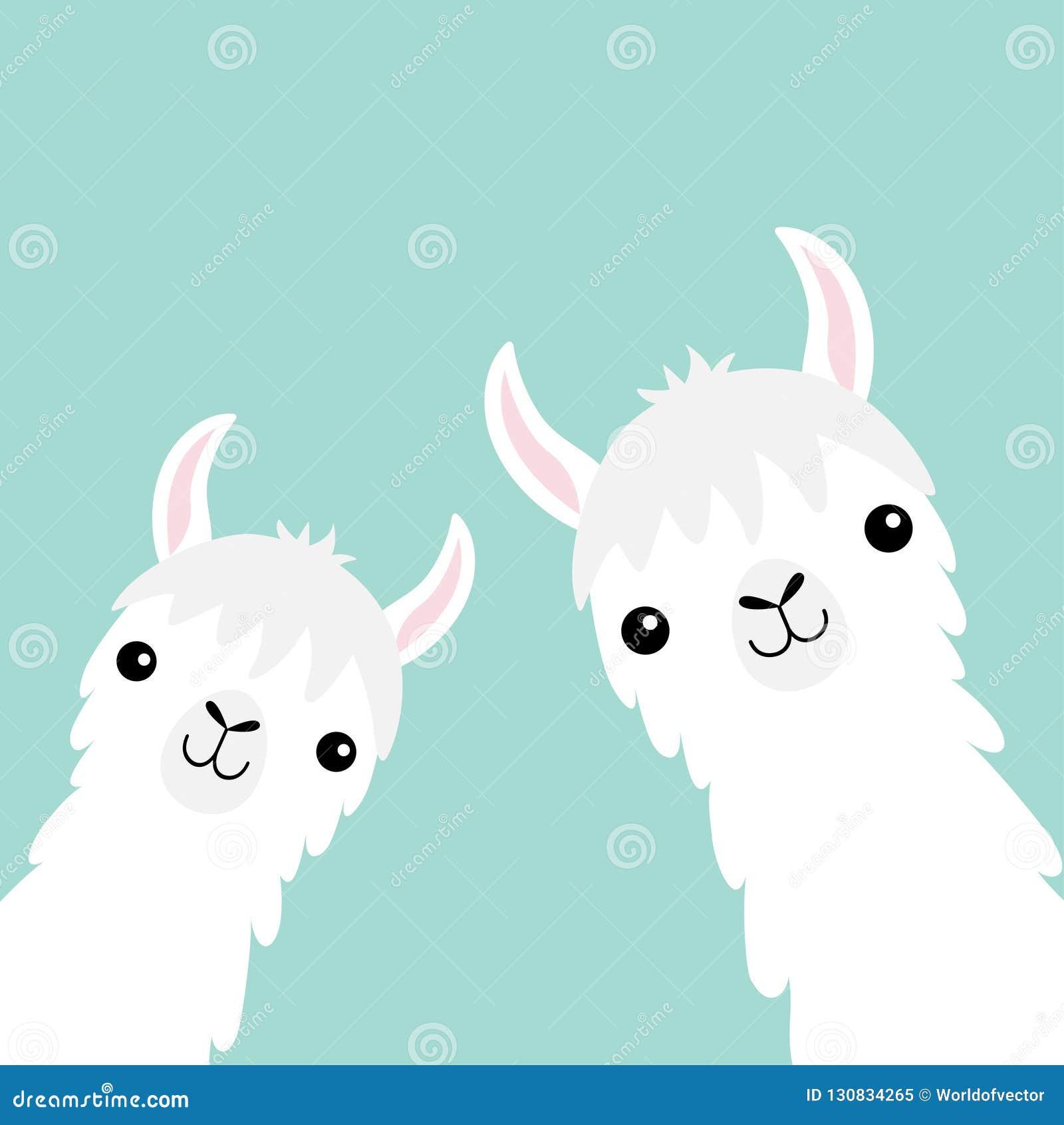 Dwa lam zwierzęcia alpagowy set Twarzy szyja Puszysty włosiany futerko Ślicznej kreskówki kawaii śmieszny charakter Dziecięca dzi