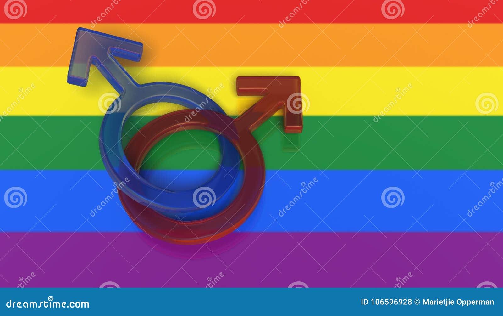 Dwa męskiego symbolu na tęczy flaga