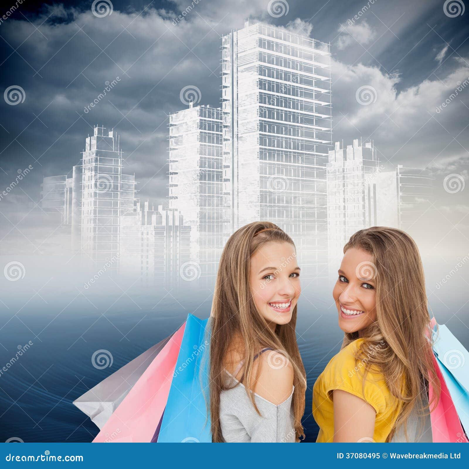 Download Dwa Młodej Kobiety Z Torba Na Zakupy Ilustracji - Ilustracja złożonej z błękitny, grafika: 37080495