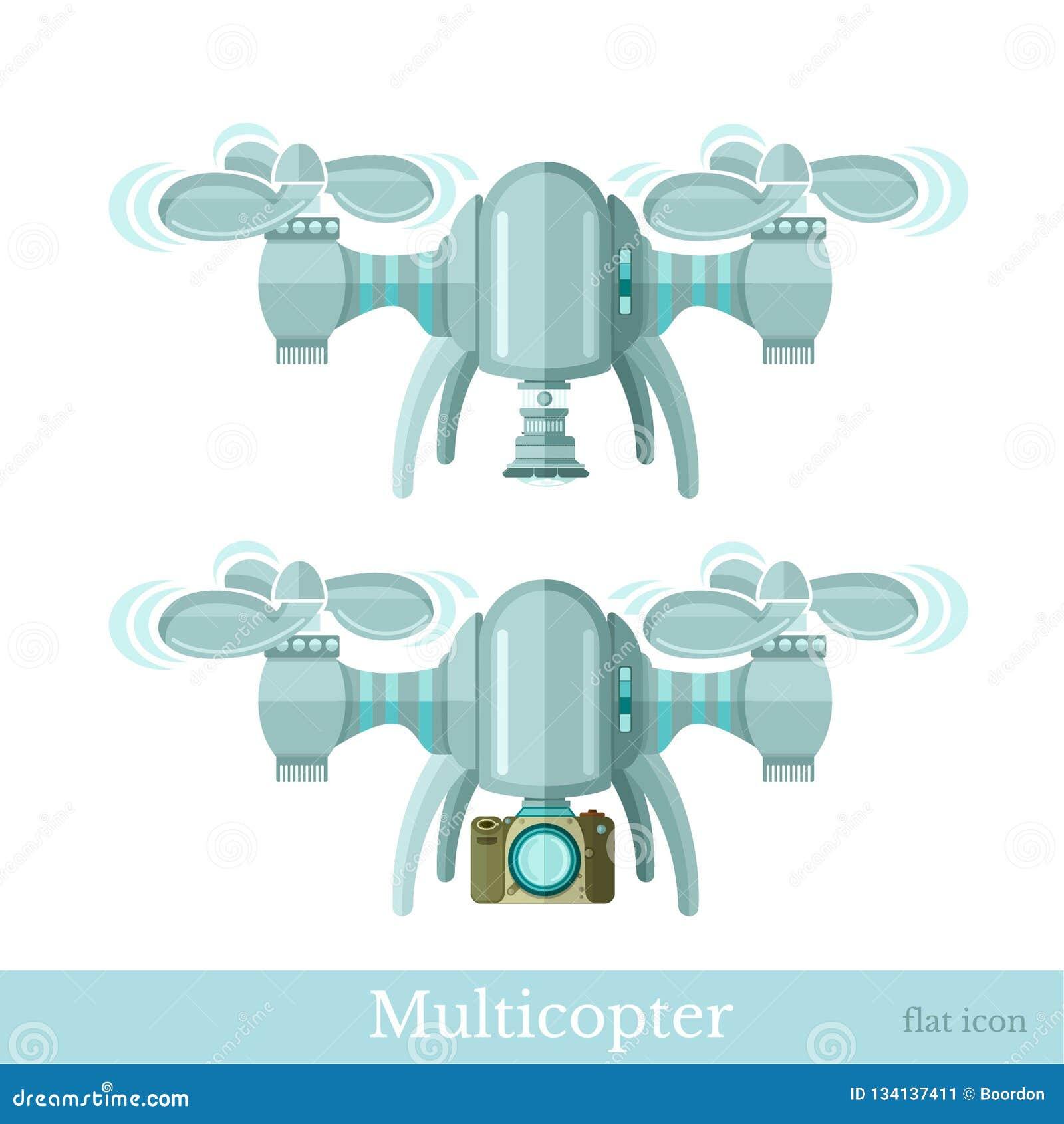 Dwa multicopter lub quadcopter z kamerą w mieszkanie stylu odizolowywającym