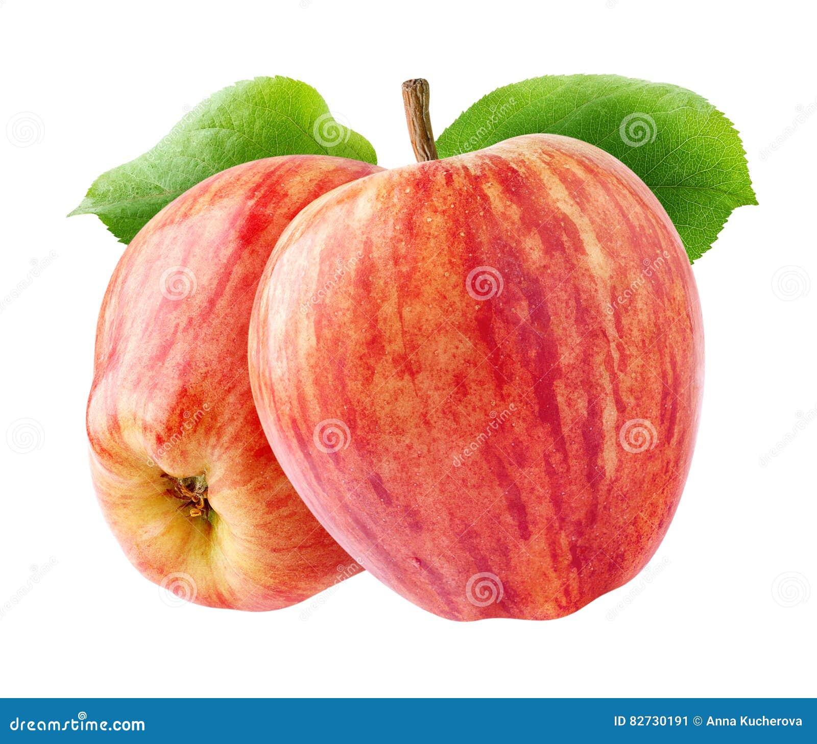 Dwa odosobnionego czerwonego jabłka