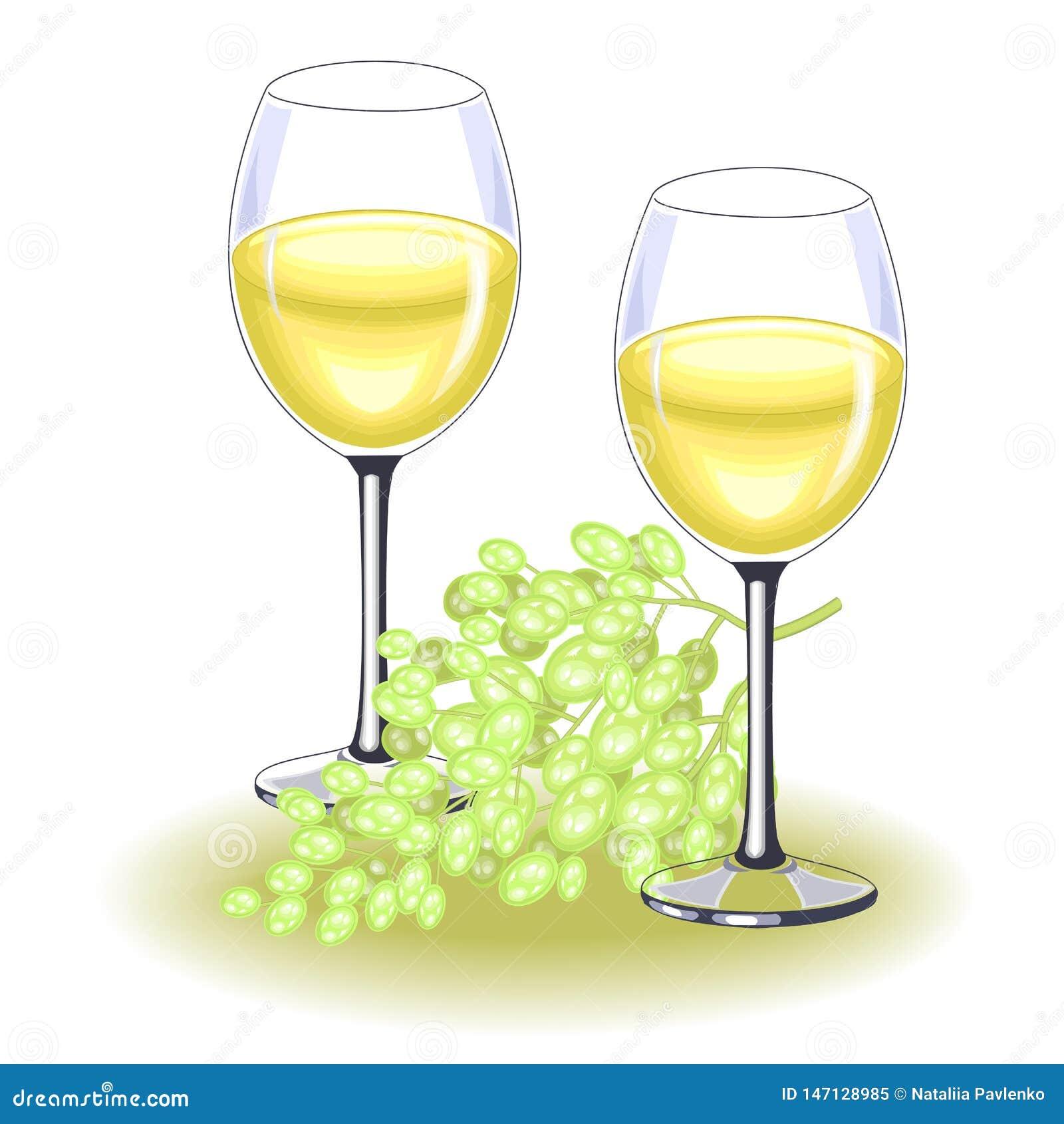 Dwa pi?knego krystalicznego szk?a z wy?mienicie bia?ym winem Dojrzała wiązka winogrona Dekoracja ?wi?teczny st?? wektor