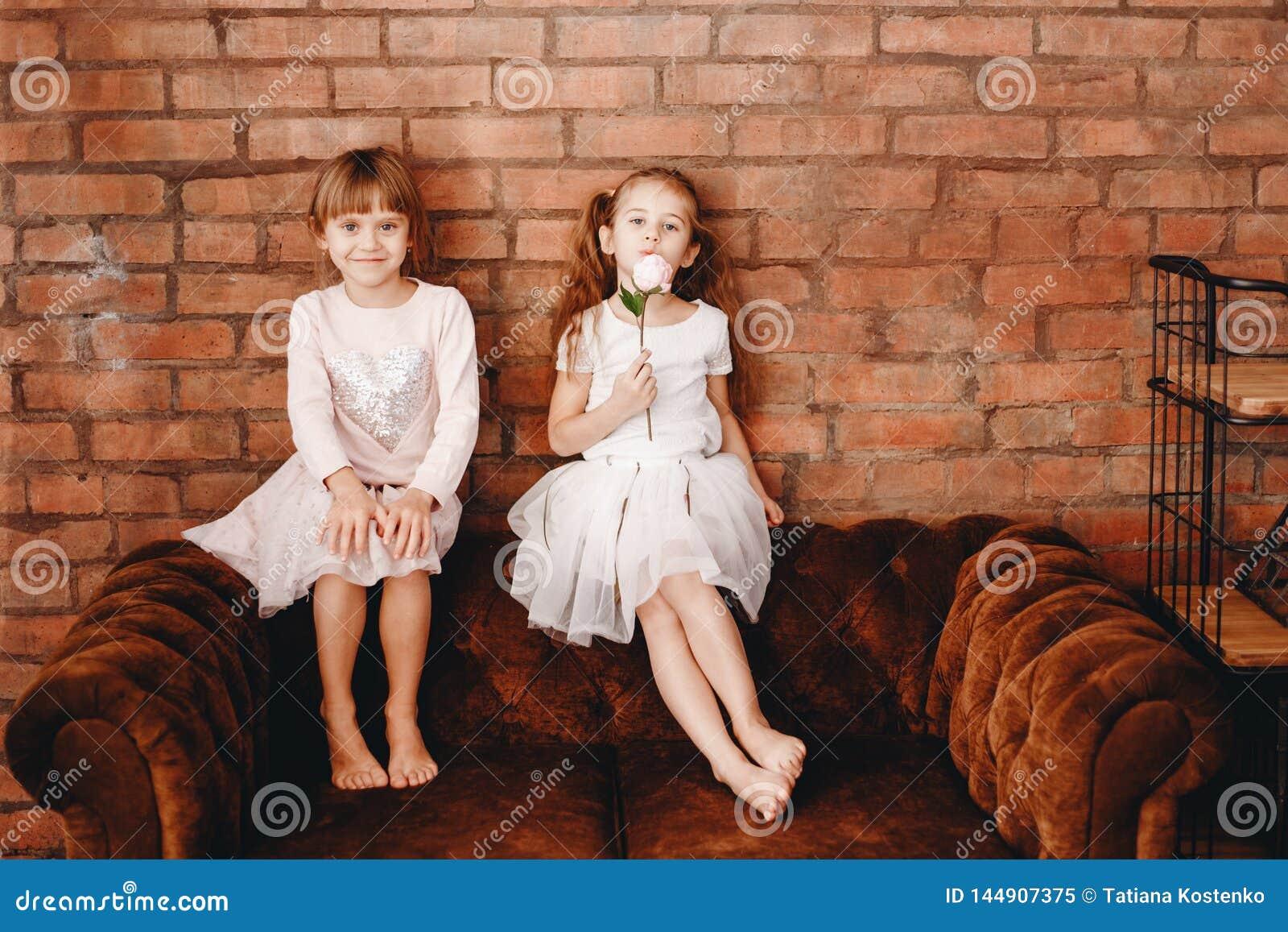 Dwa powabnej siostry ubierającej w pięknych sukniach siedzą na brązu karle na tle ściana z cegieł