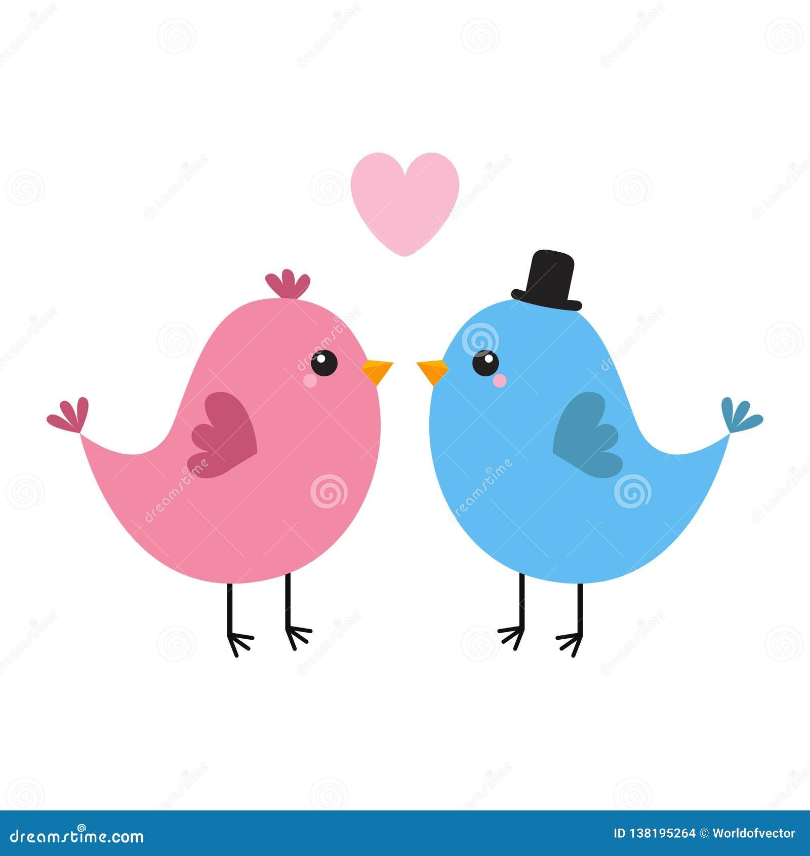 Dwa ptasia para Różowy serce szczęśliwe dni valentines Kocha kartka z pozdrowieniami Chłopiec, dziewczyna czarny kapelusz Śliczny