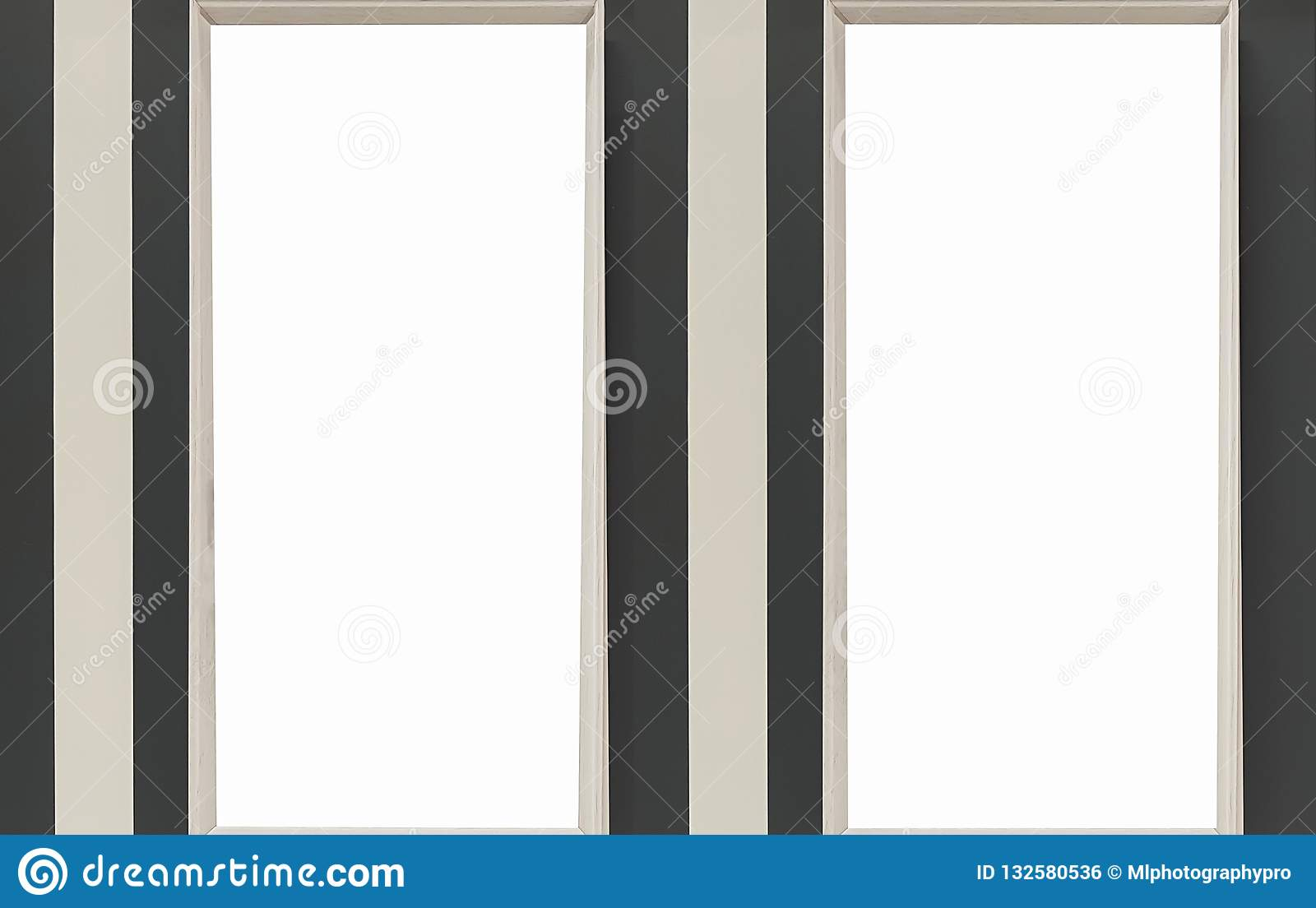 Dwa Pusta rama Na półce Z książkami Pusty reklama sztandaru plakata egzamin próbny W górę Odosobnionej szablonu ścinku ścieżki