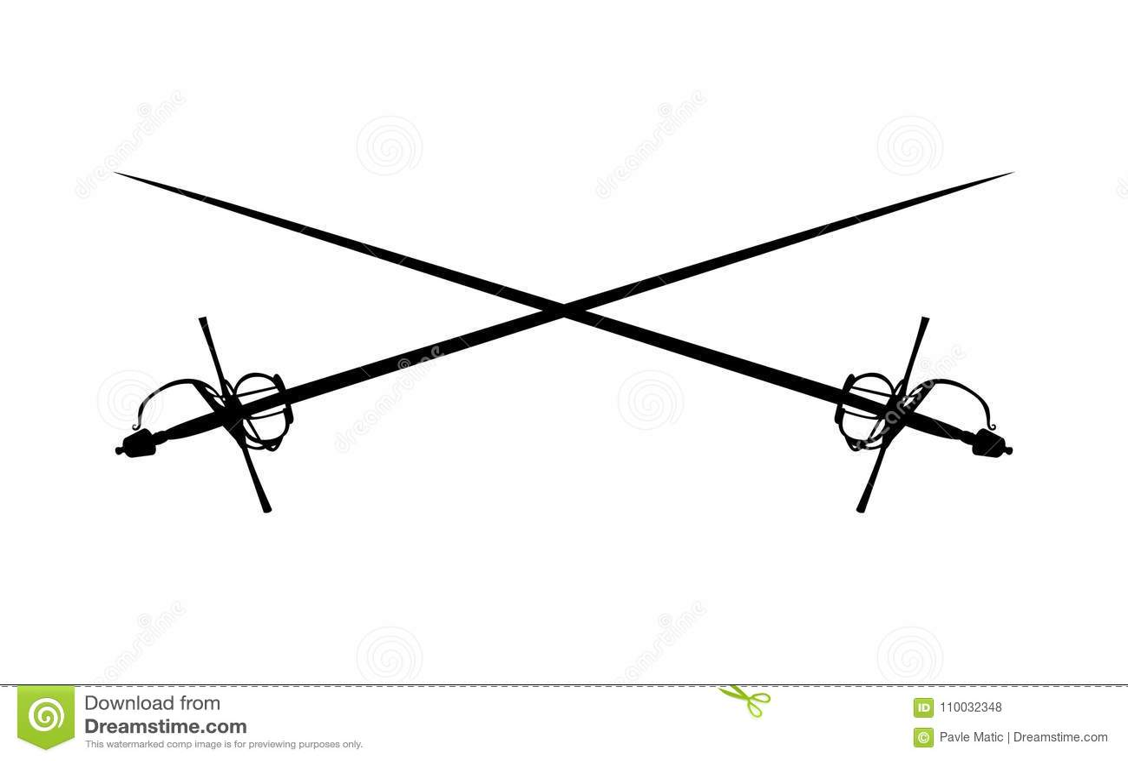 Dwa rapieru kordzika krzyżującego