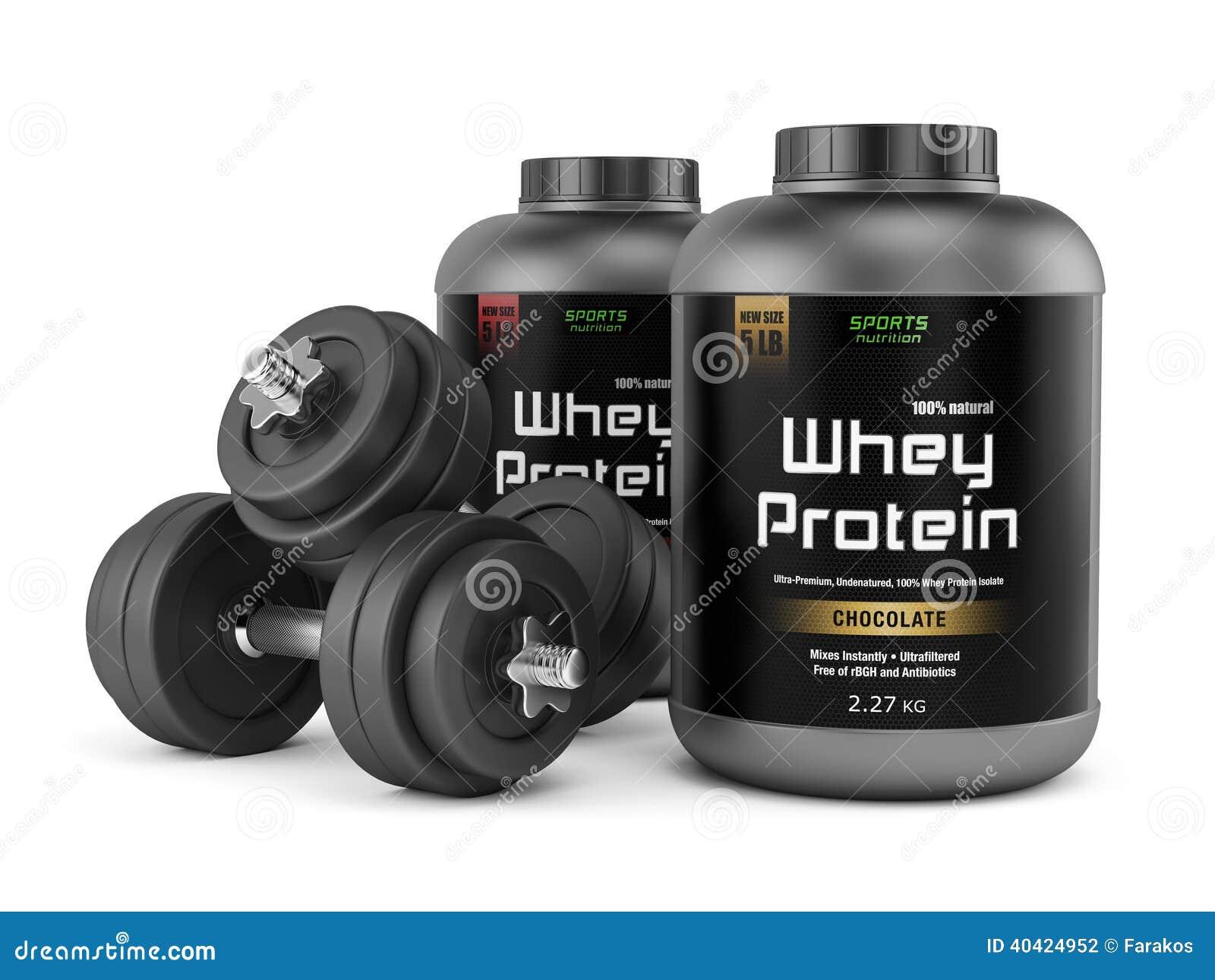 Dwa słoju proteina i dumbbells