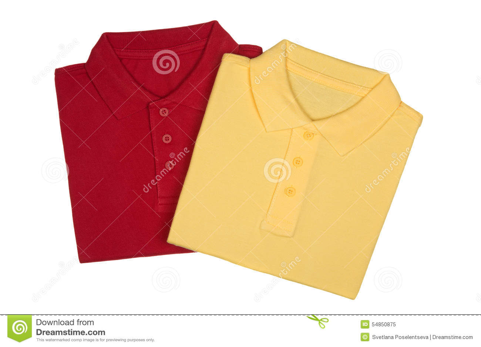 Dwa składali czerwone i żółte polo koszula odizolowywać na bielu