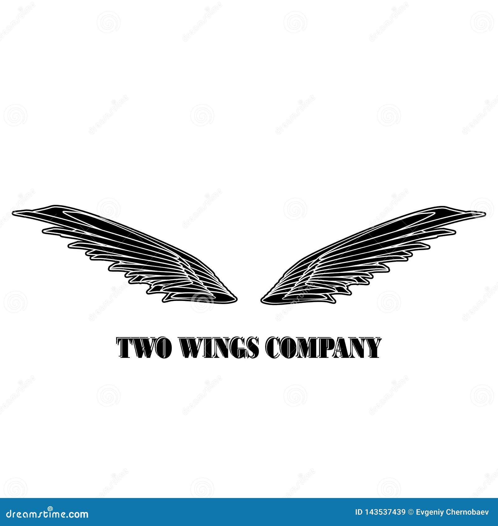 Dwa skrzyde? logo czarna firma Dwa skrzyd?a z bia?ym lampasa wektorem eps10