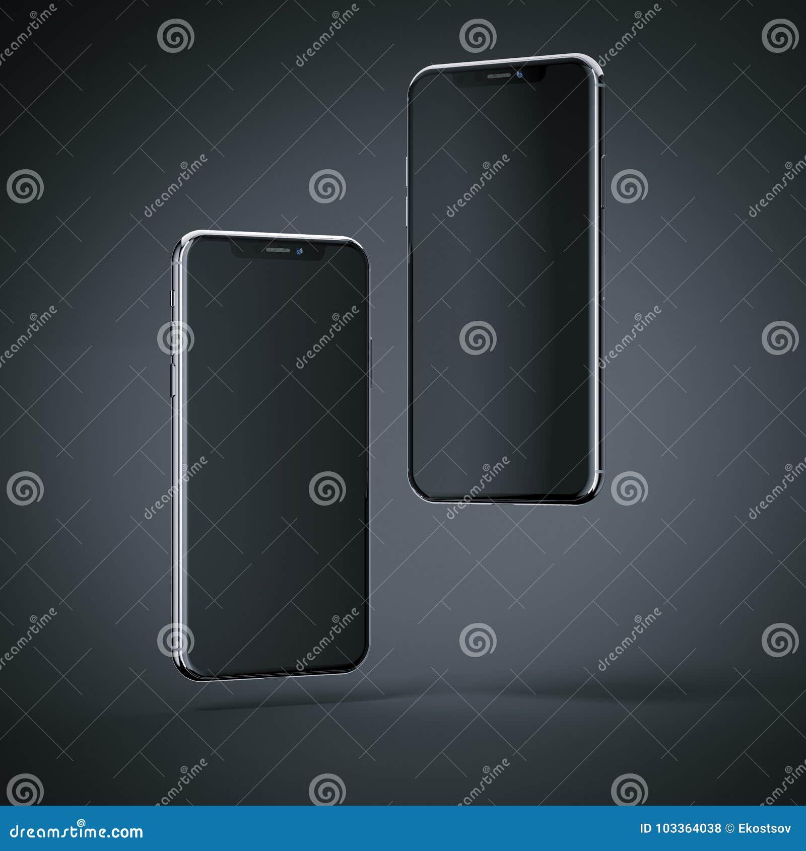 Dwa smartphones nowożytny latać świadczenia 3 d