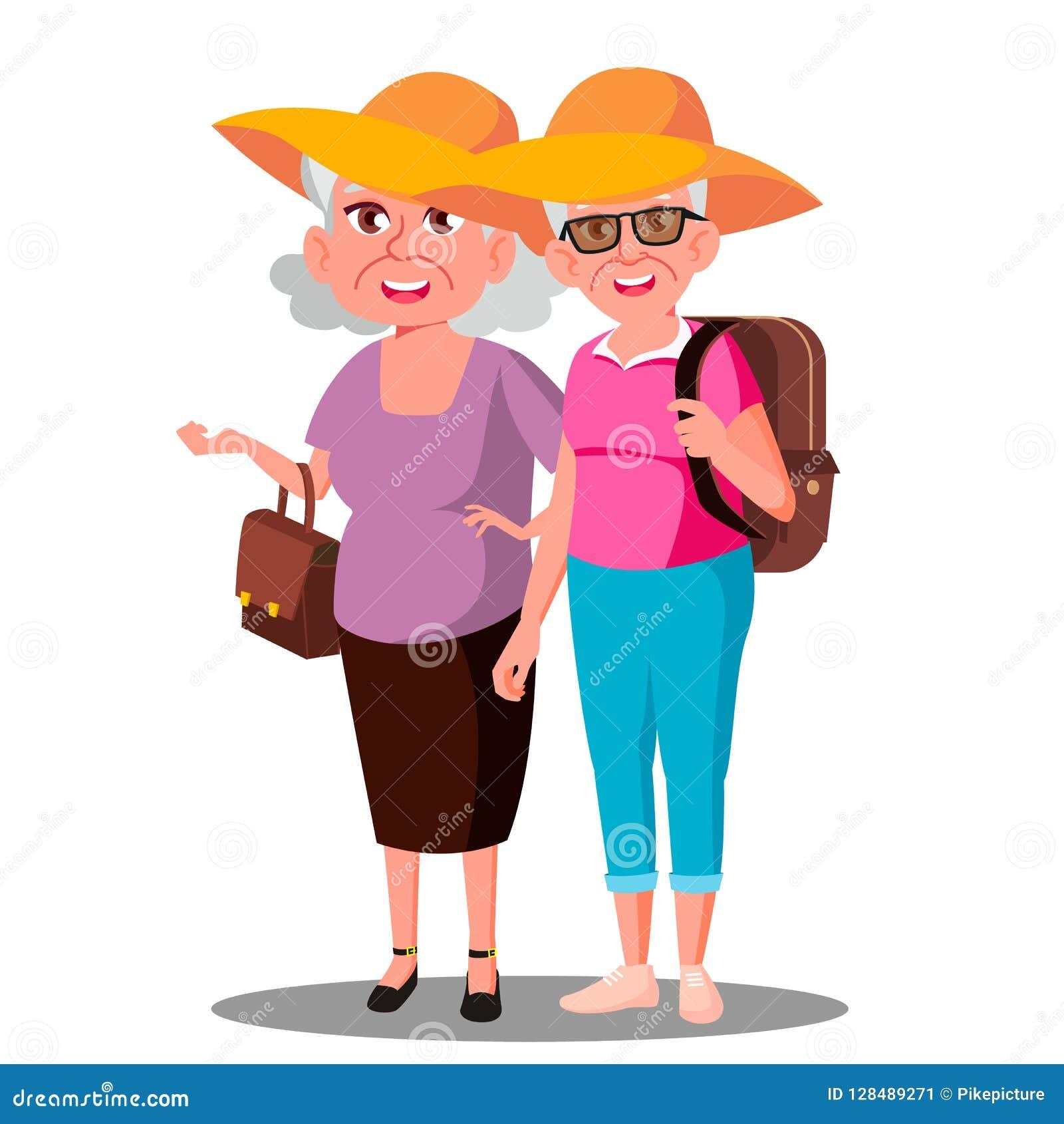 Dwa stara kobieta przyjaciela W kapeluszu Enjoing wakacje wektorze button ręce s push odizolowana początku ilustracyjna kobieta