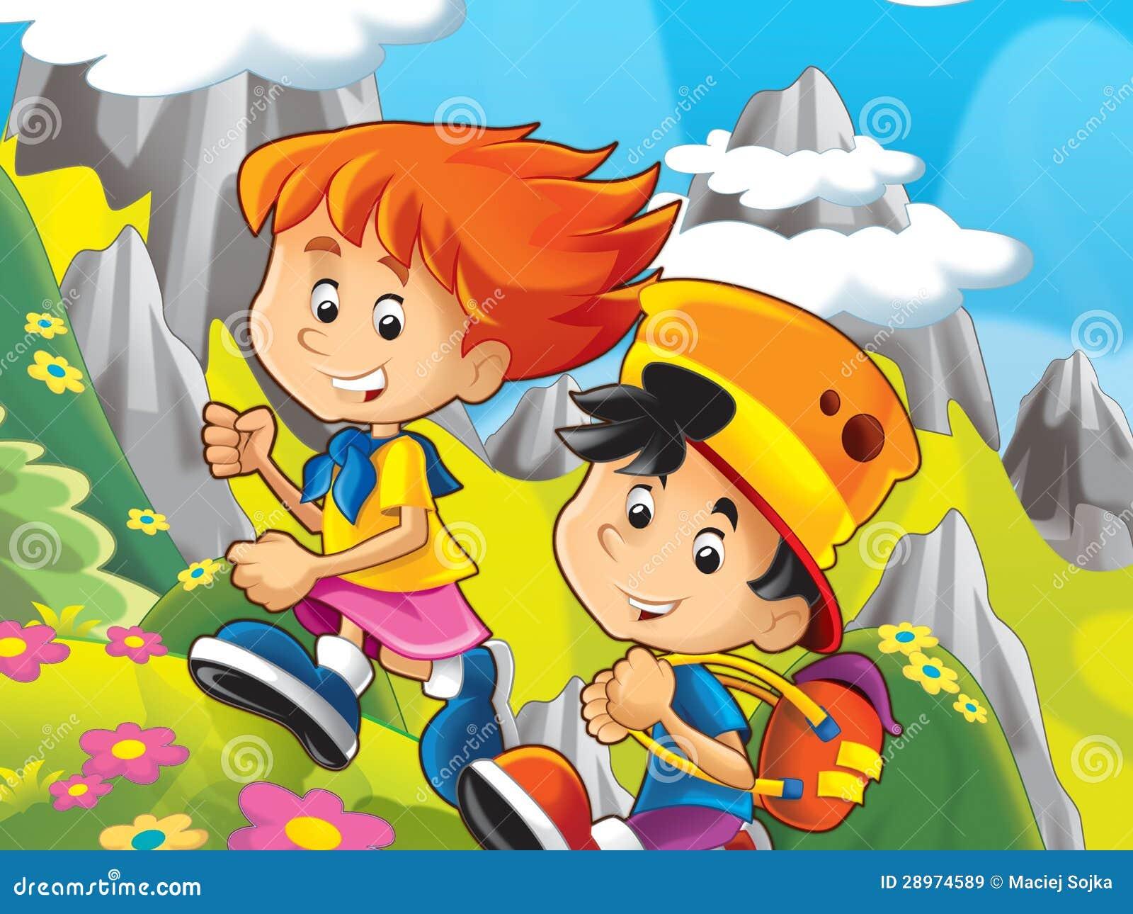 Dwa szczęśliwego dzieciaka w górach