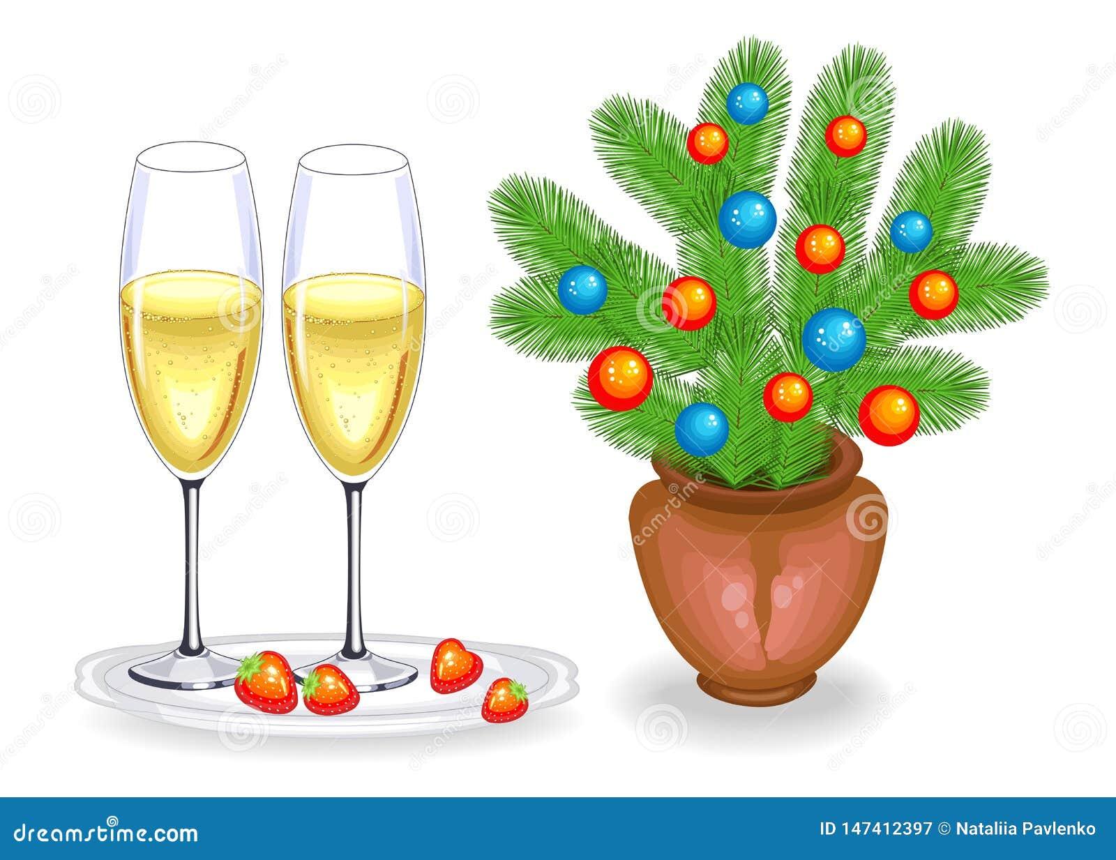 Dwa szkła szampańskie i czerwone truskawki Wakacyjni boże narodzenia, nowy rok r?wnie? zwr?ci? corel ilustracji wektora