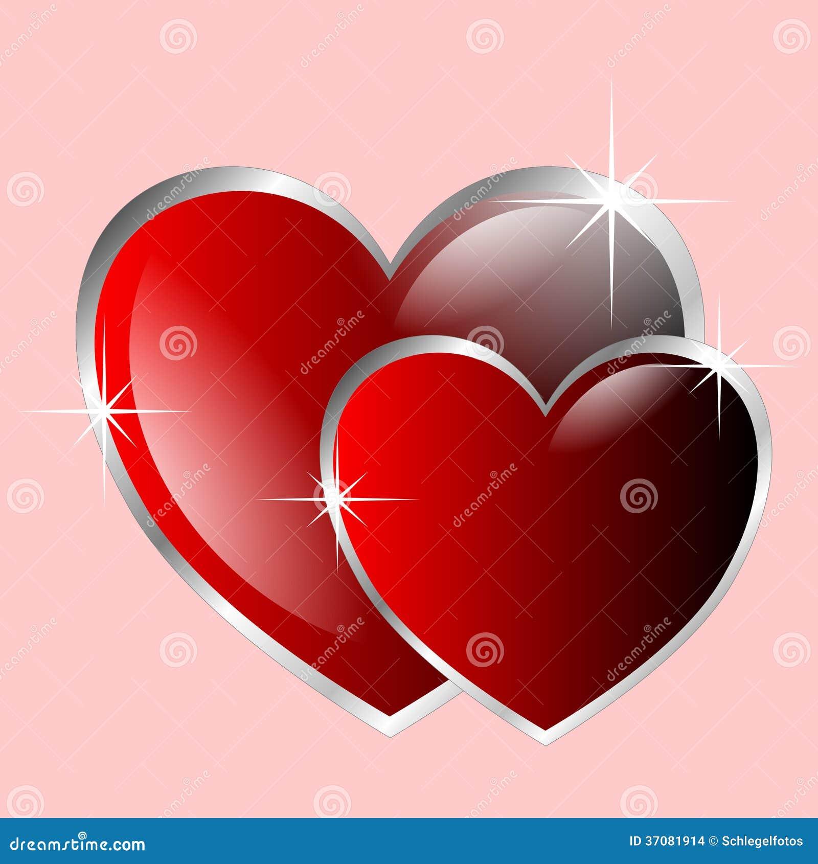 Download Dwa valentine serca ilustracji. Ilustracja złożonej z miłość - 37081914
