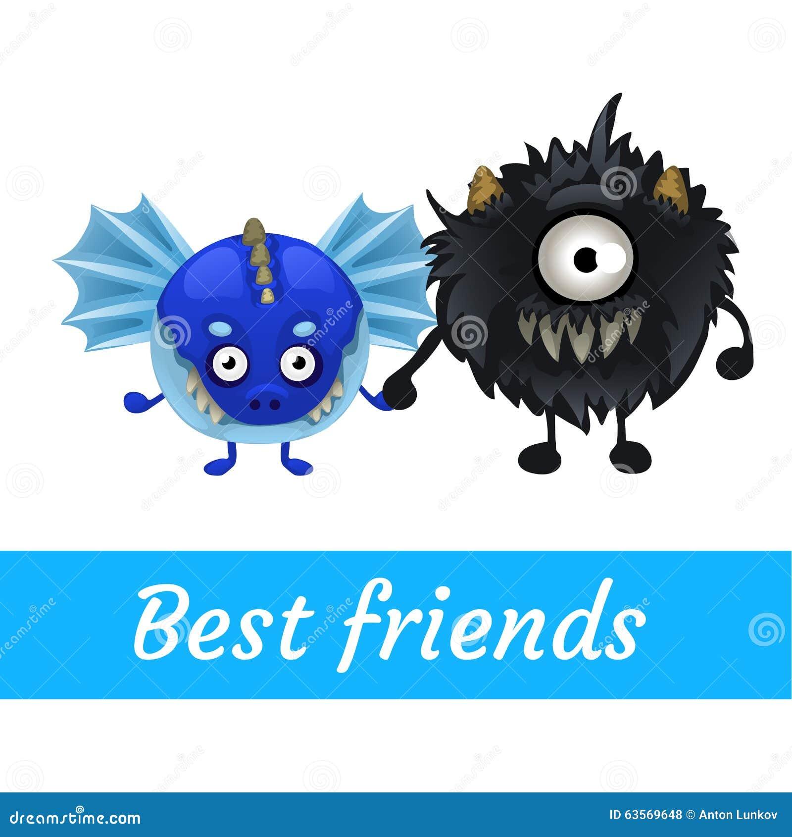 Dwa wektorowy śmieszny potwór, czerń i błękit,