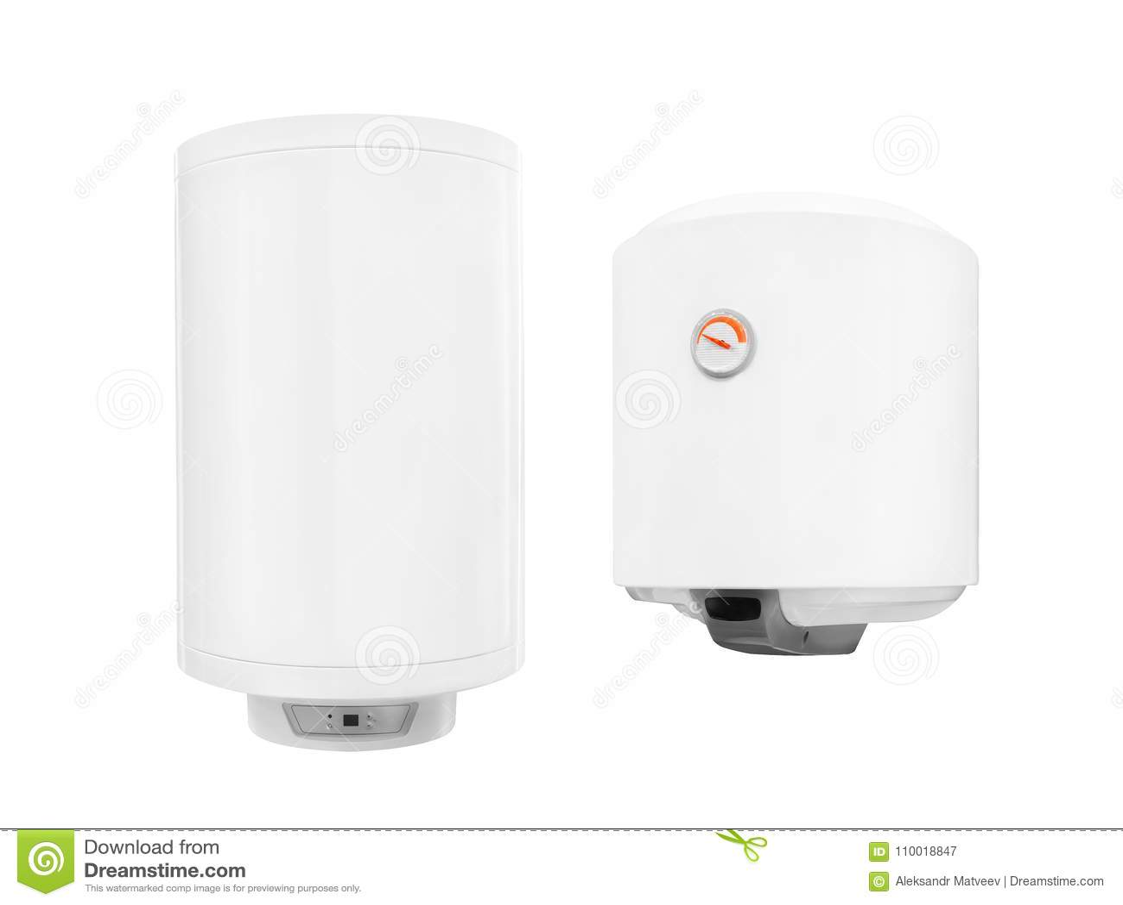Dwa wodnego nagrzewacza nowożytny automatyczny elektryczny bojler odizolowywający na białym tle