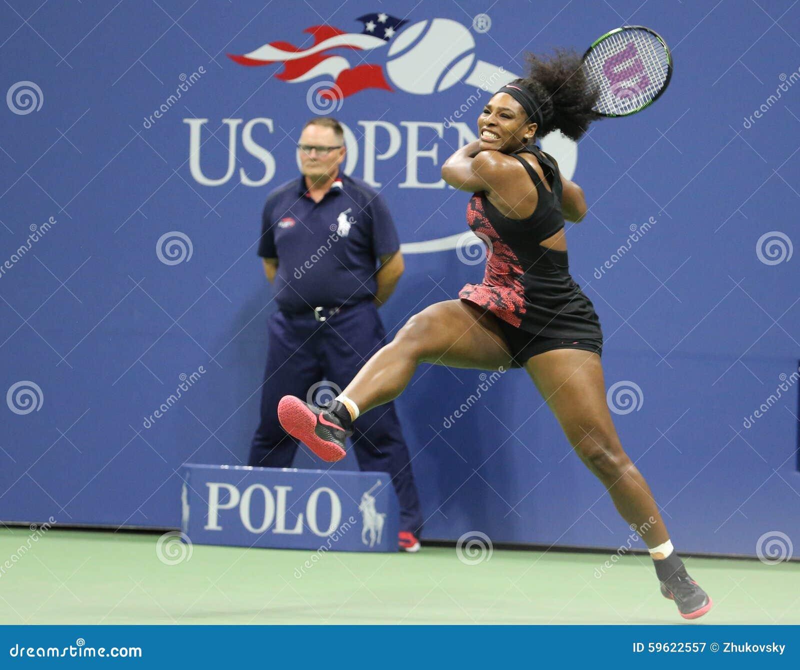 Dwadzieścia czasów wielkiego szlema jeden mistrz Serena Williams w akci podczas jej ćwierćfinału dopasowania przeciw Venus Willia