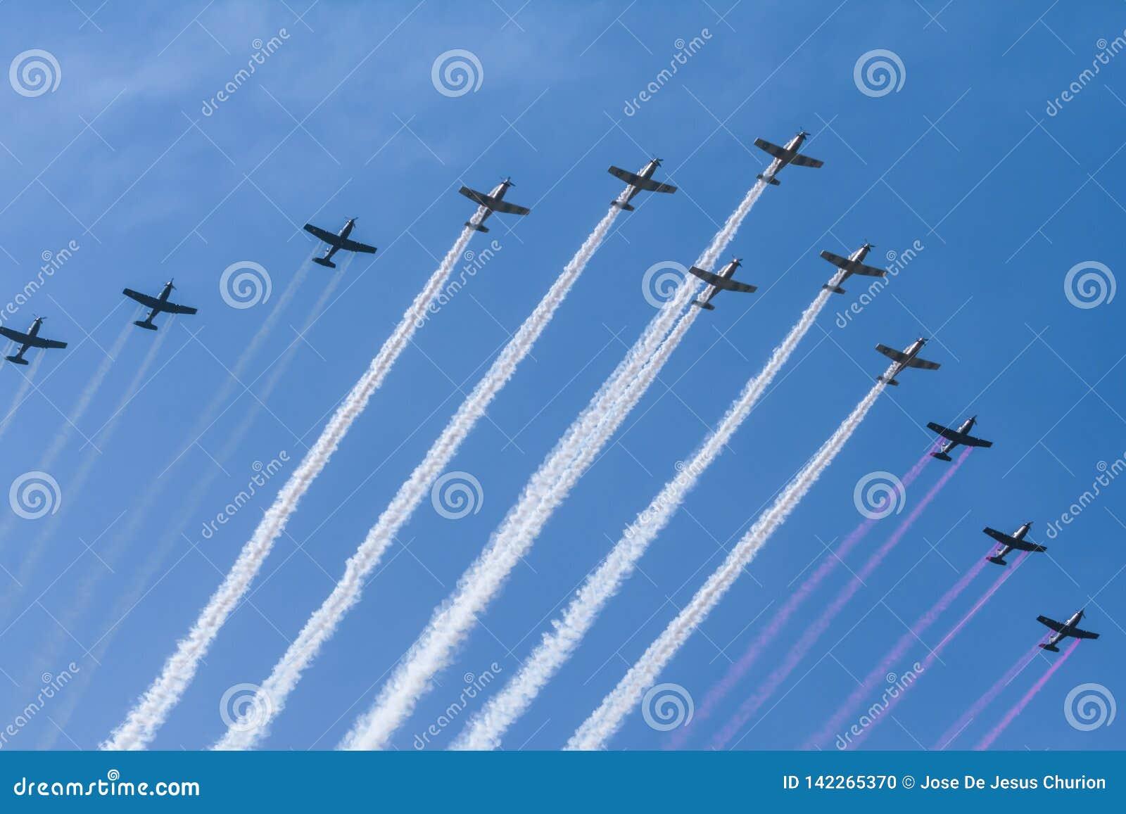 Dwanaście aerobatic samolotów emitują zieleni, bielu i czerwieni dym,