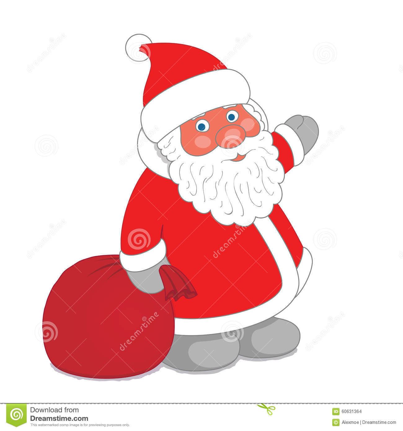 Dwarf Santa Claus With Sack Of Gifts Stock Vector - Illustration of ...